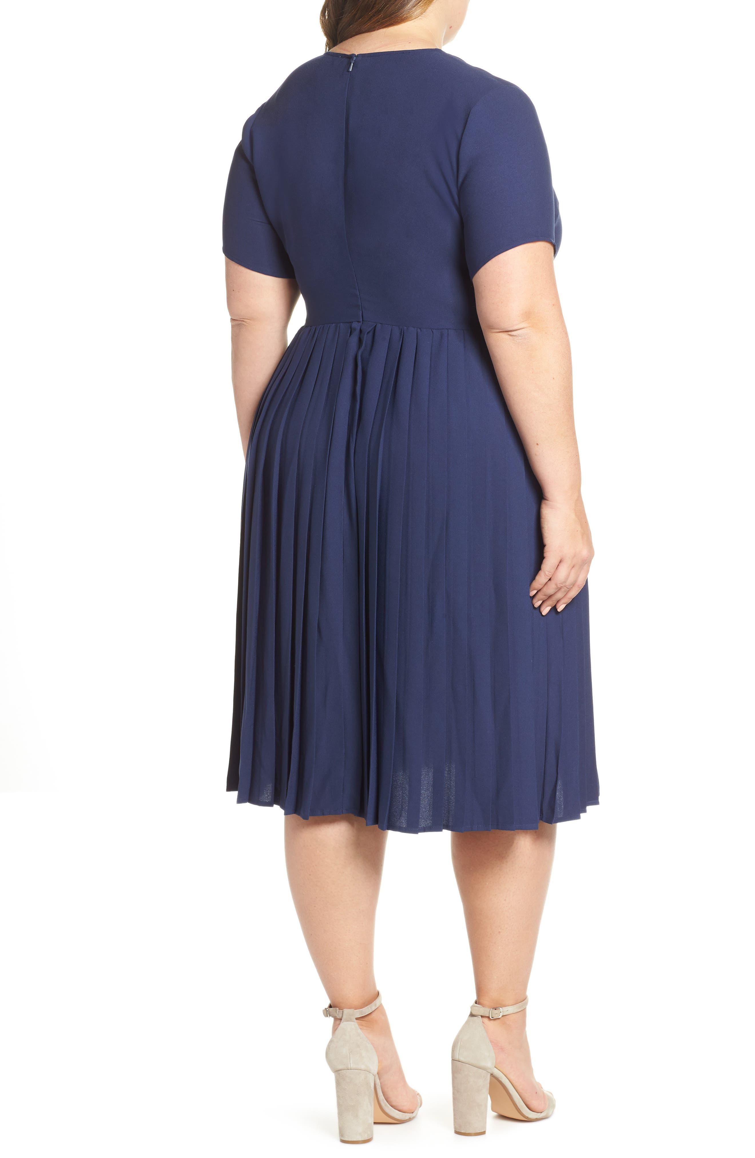 LEITH, Pleated Surplice Dress, Alternate thumbnail 9, color, NAVY PEACOAT