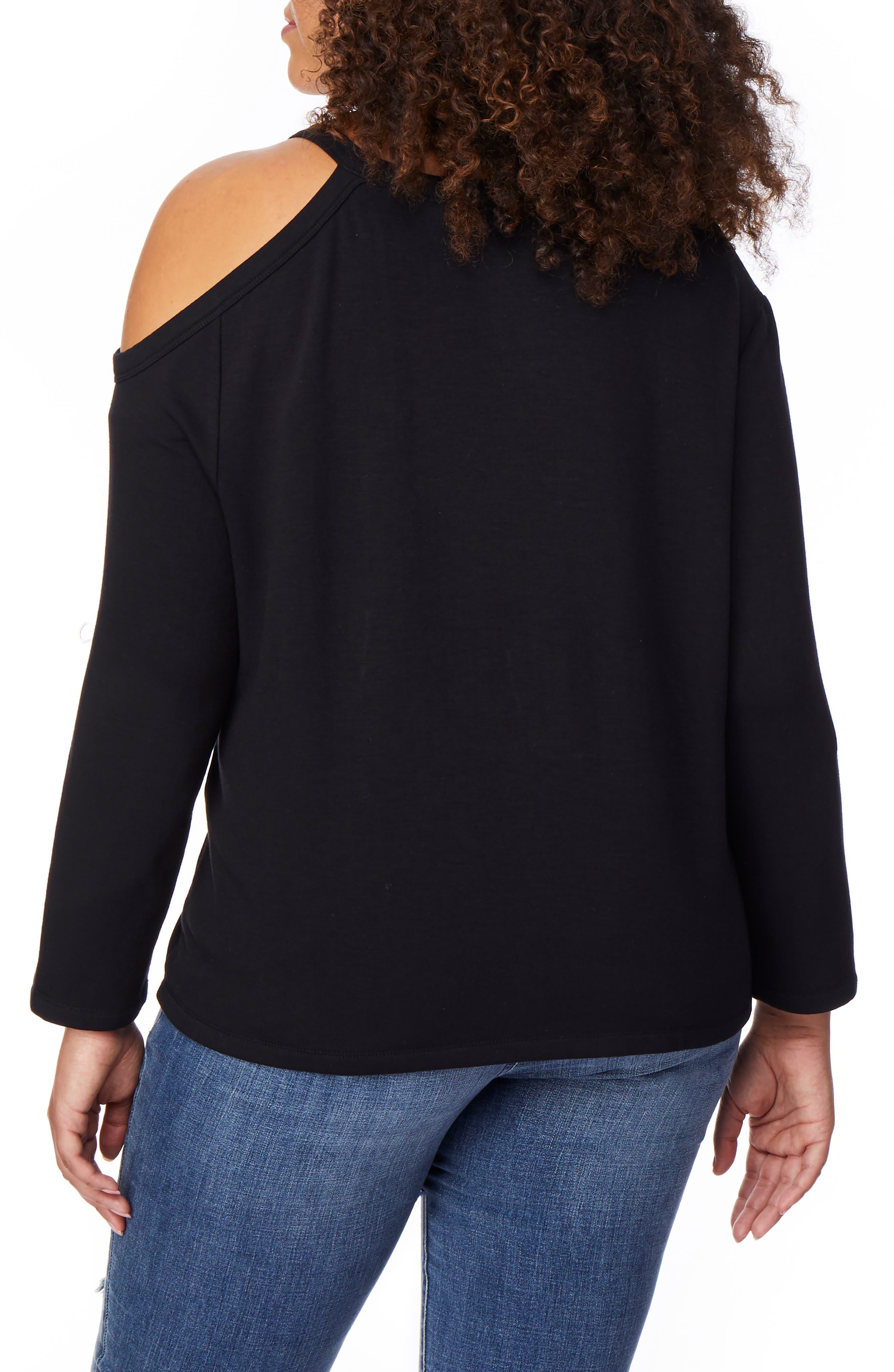 REBEL WILSON X ANGELS, Cold Shoulder Sweatshirt, Alternate thumbnail 2, color, BLACK