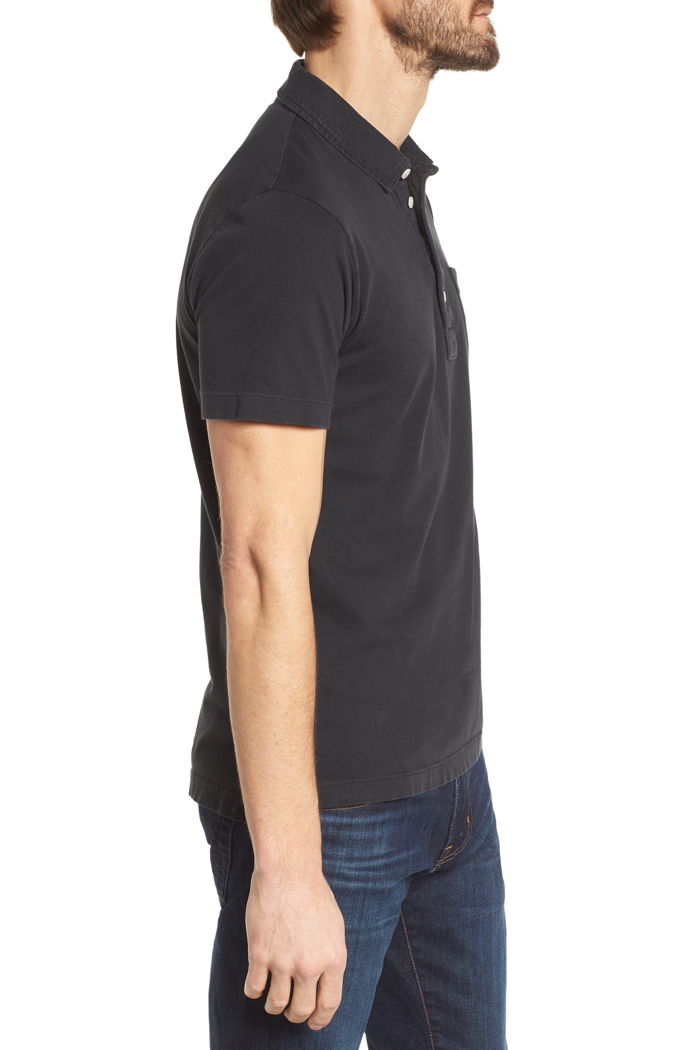 BILLY REID, Pensacola Slim Fit Garment Dye Polo, Alternate thumbnail 3, color, BLACK