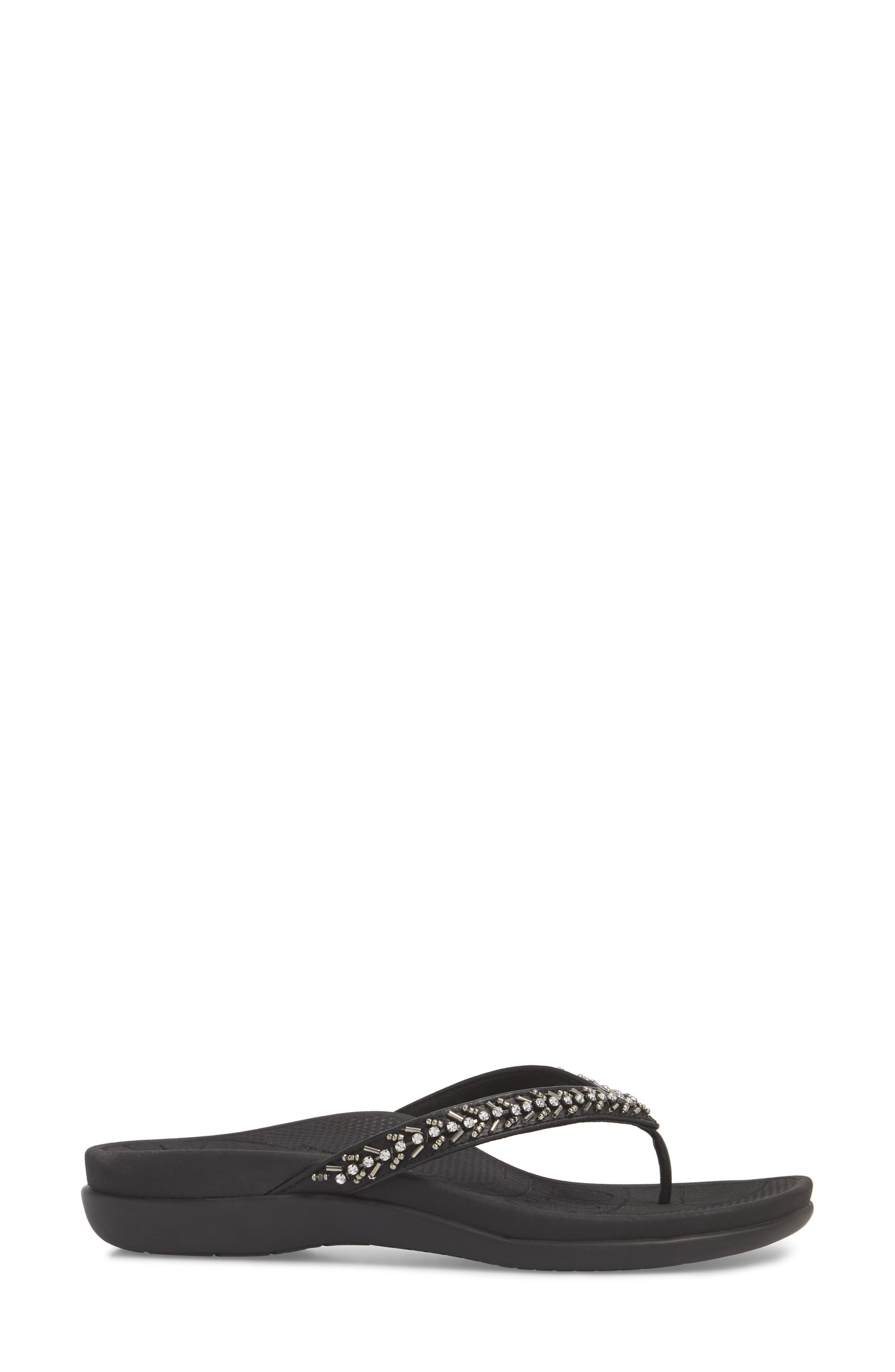 AETREX, Jules Crystal Embellished Water Friendly Flip-Flop, Alternate thumbnail 3, color, BLACK