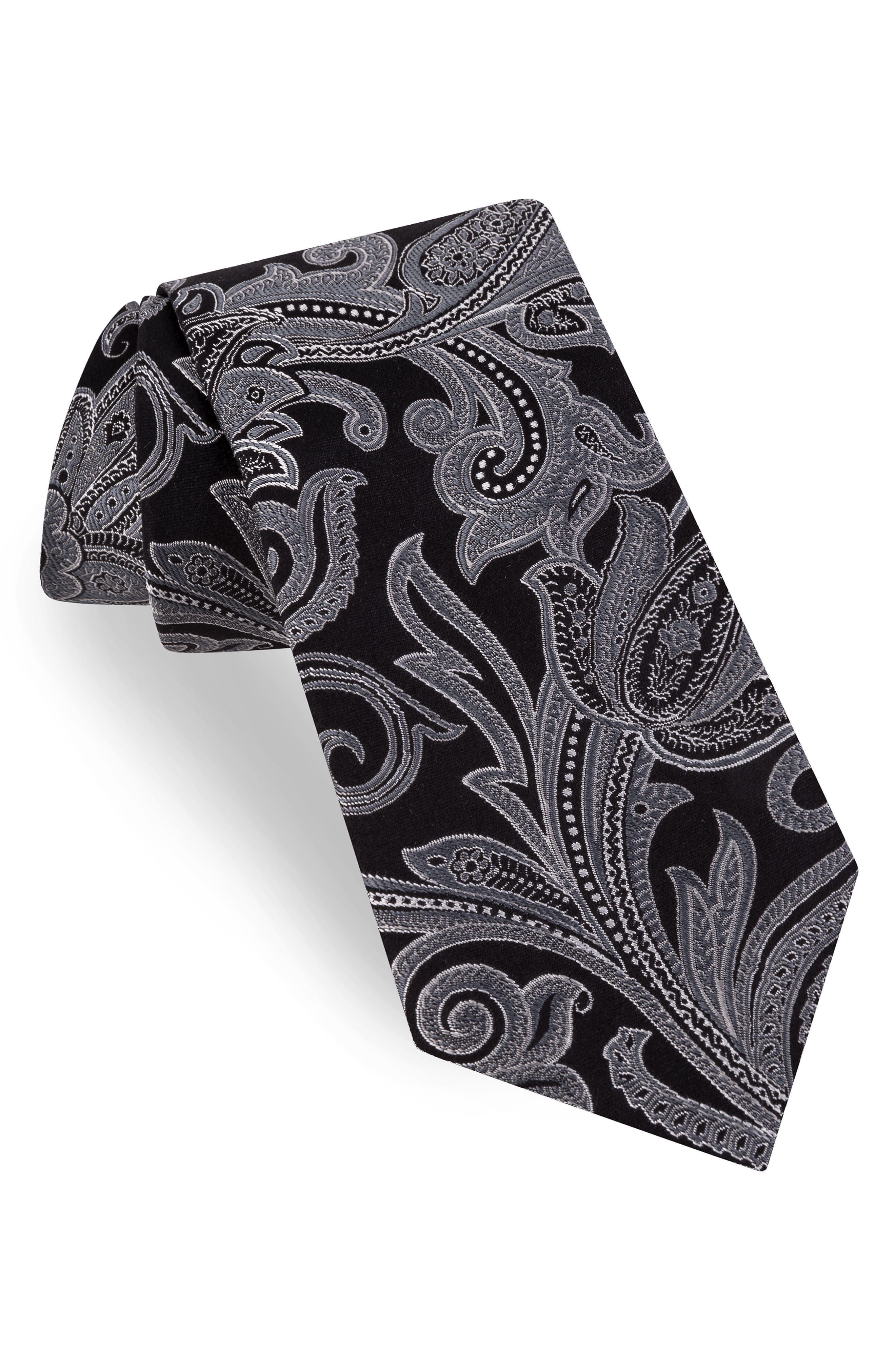 TED BAKER LONDON Contrast Paisley Silk Tie, Main, color, BLACK