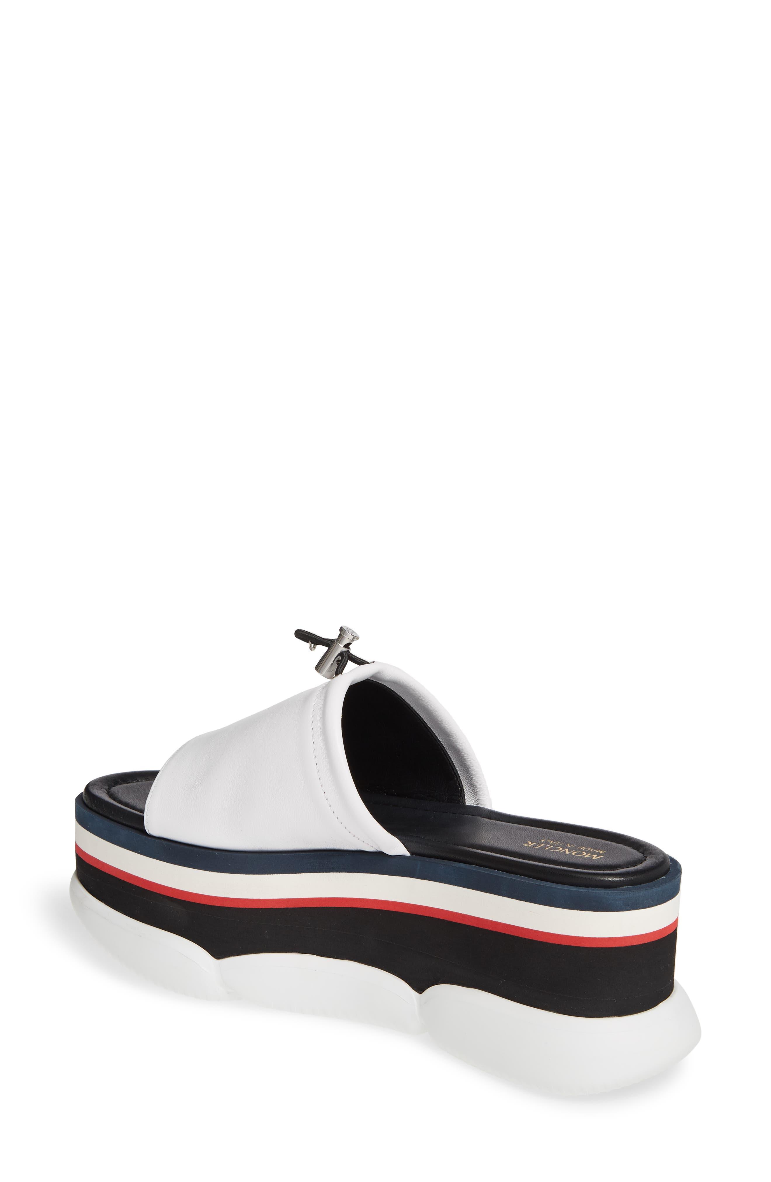MONCLER, Zaira Platform Slide Sandal, Alternate thumbnail 2, color, WHITE