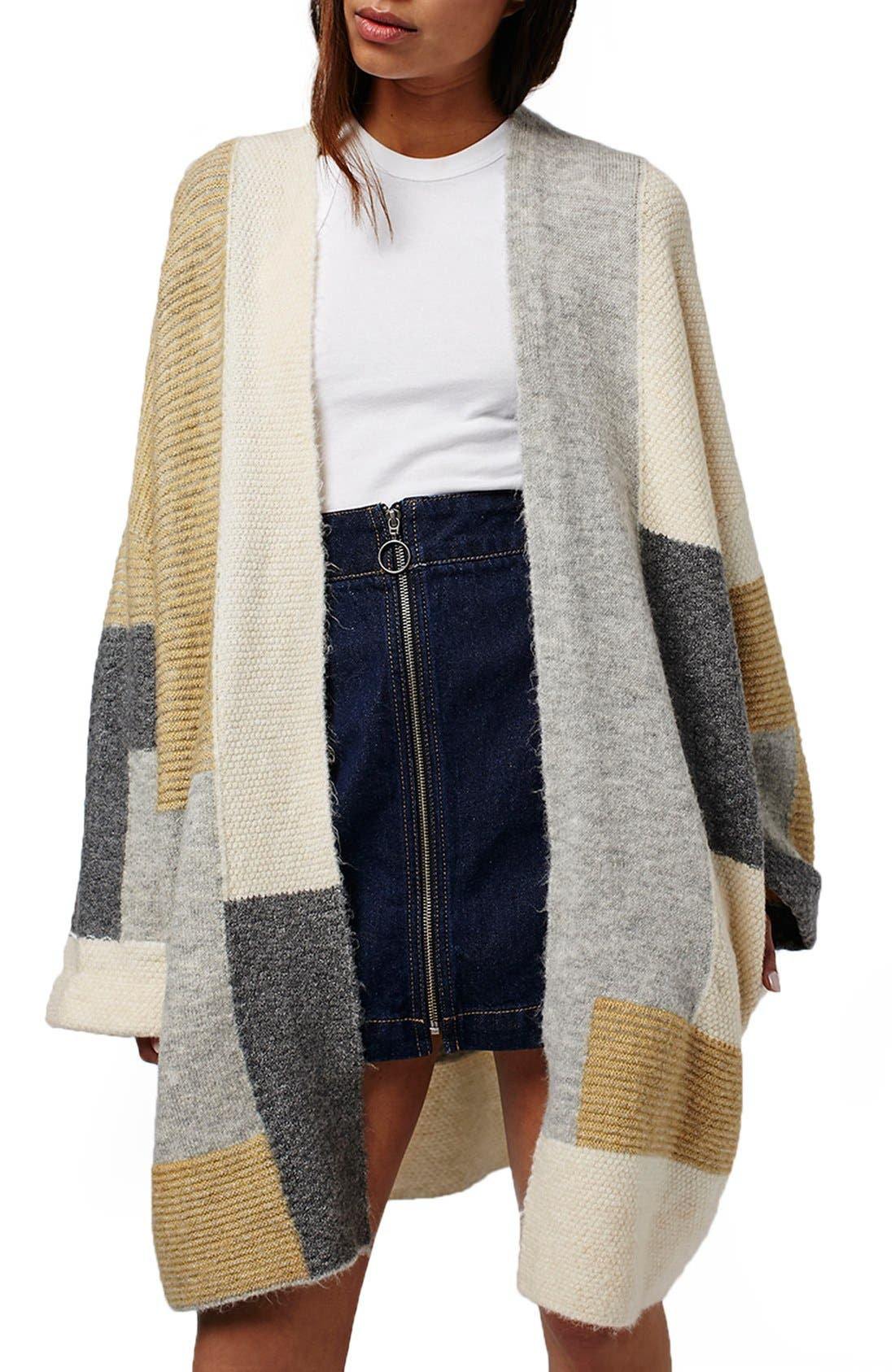 TOPSHOP Patchwork Oversize Open Cardigan, Main, color, 020