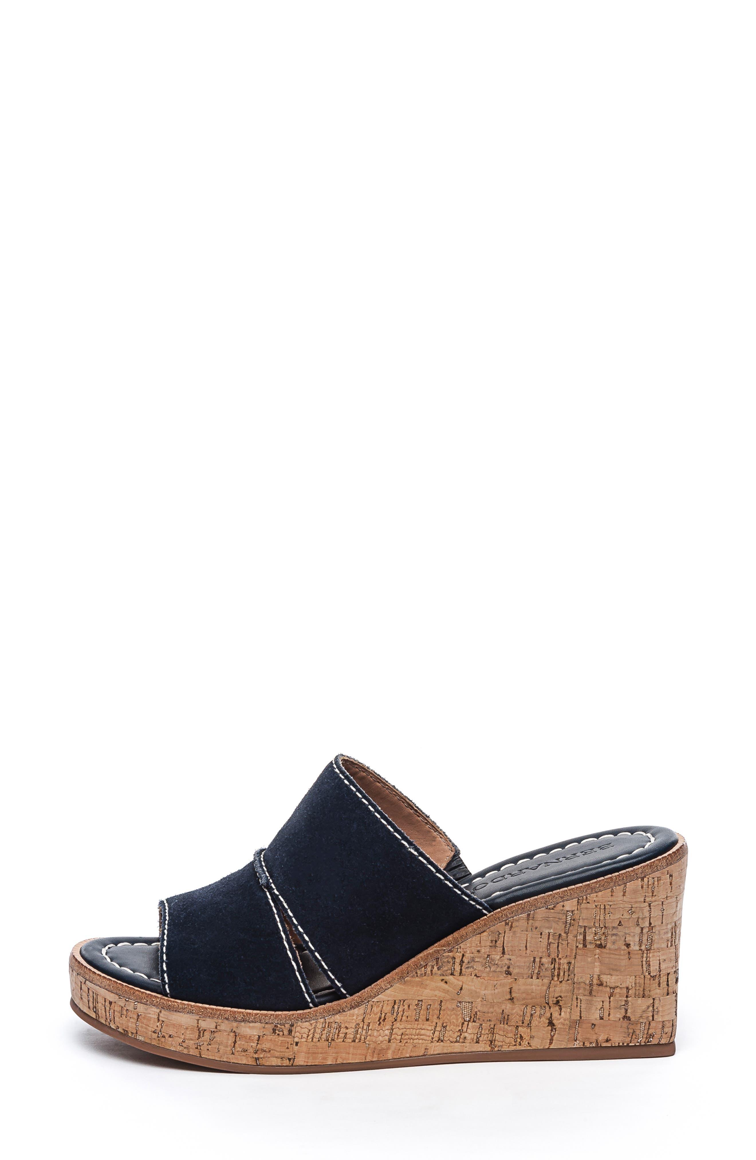 BERNARDO, Kami Platform Wedge Slide Sandal, Alternate thumbnail 3, color, NAVY SUEDE