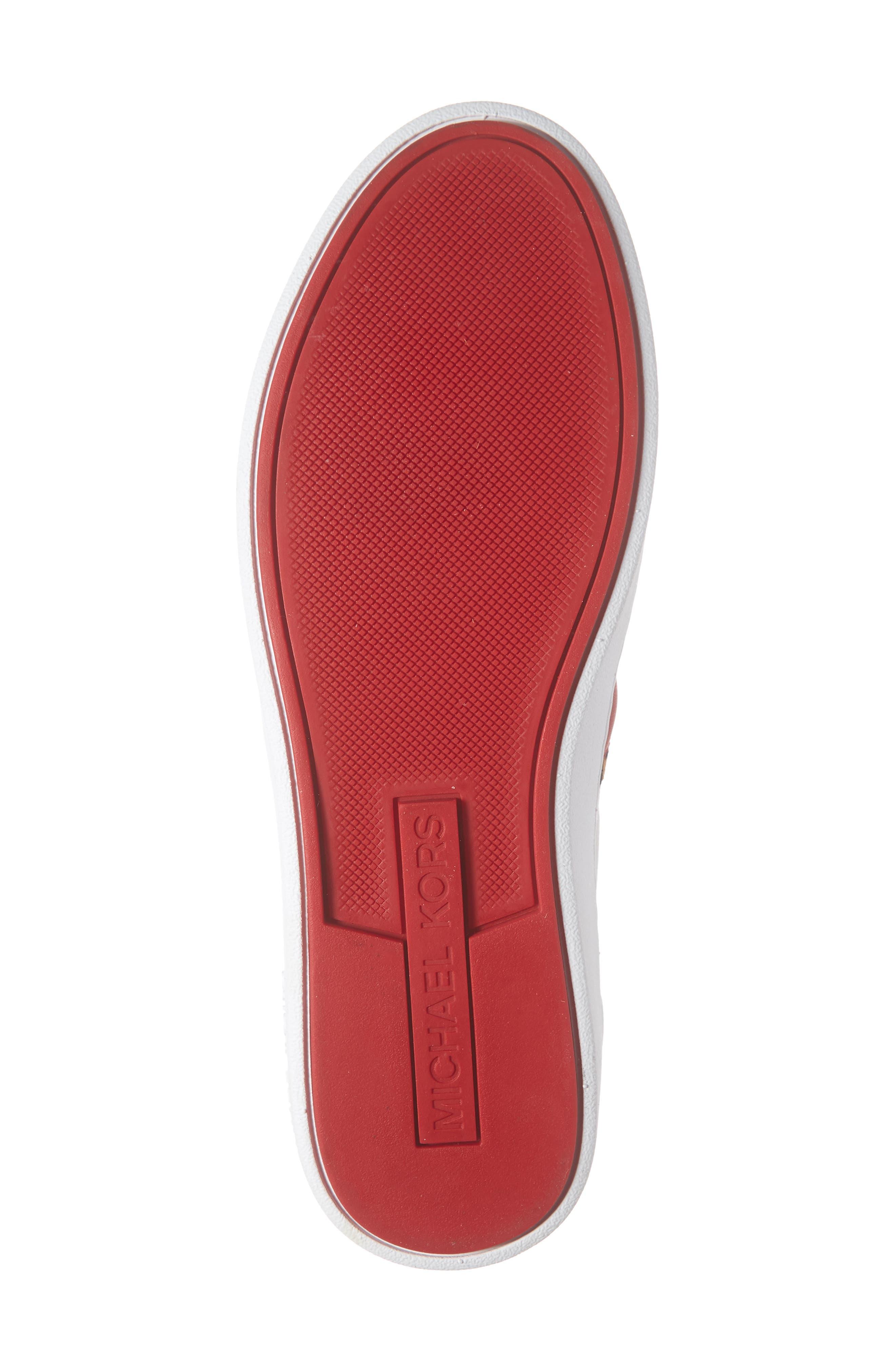MICHAEL MICHAEL KORS, Irving Stripe Sneaker, Alternate thumbnail 6, color, OPTIC WHITE/ NATURAL