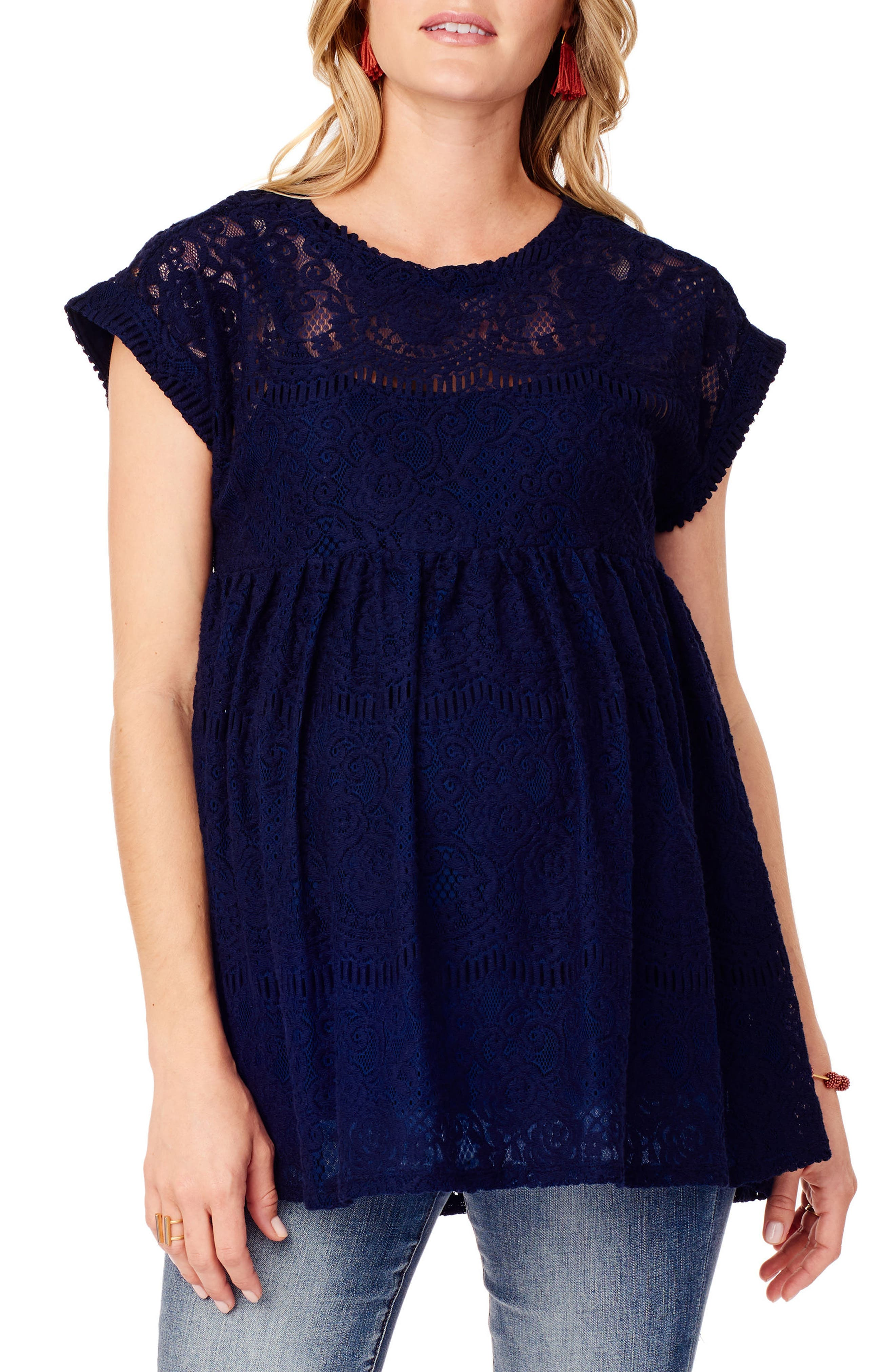 INGRID & ISABEL<SUP>®</SUP>, Lace Maternity Swing Top, Main thumbnail 1, color, TRUE NAVY