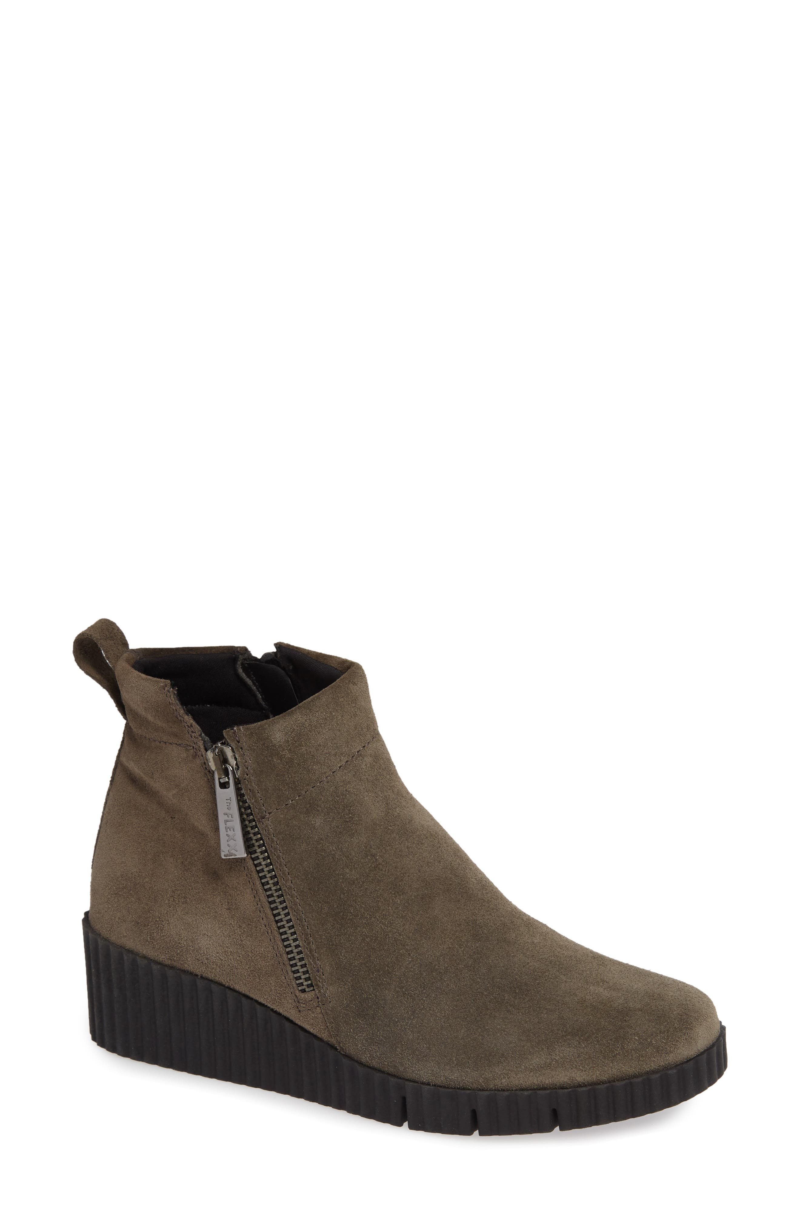 THE FLEXX, Easy Does It Wedge Bootie, Main thumbnail 1, color, BROWN SUEDE