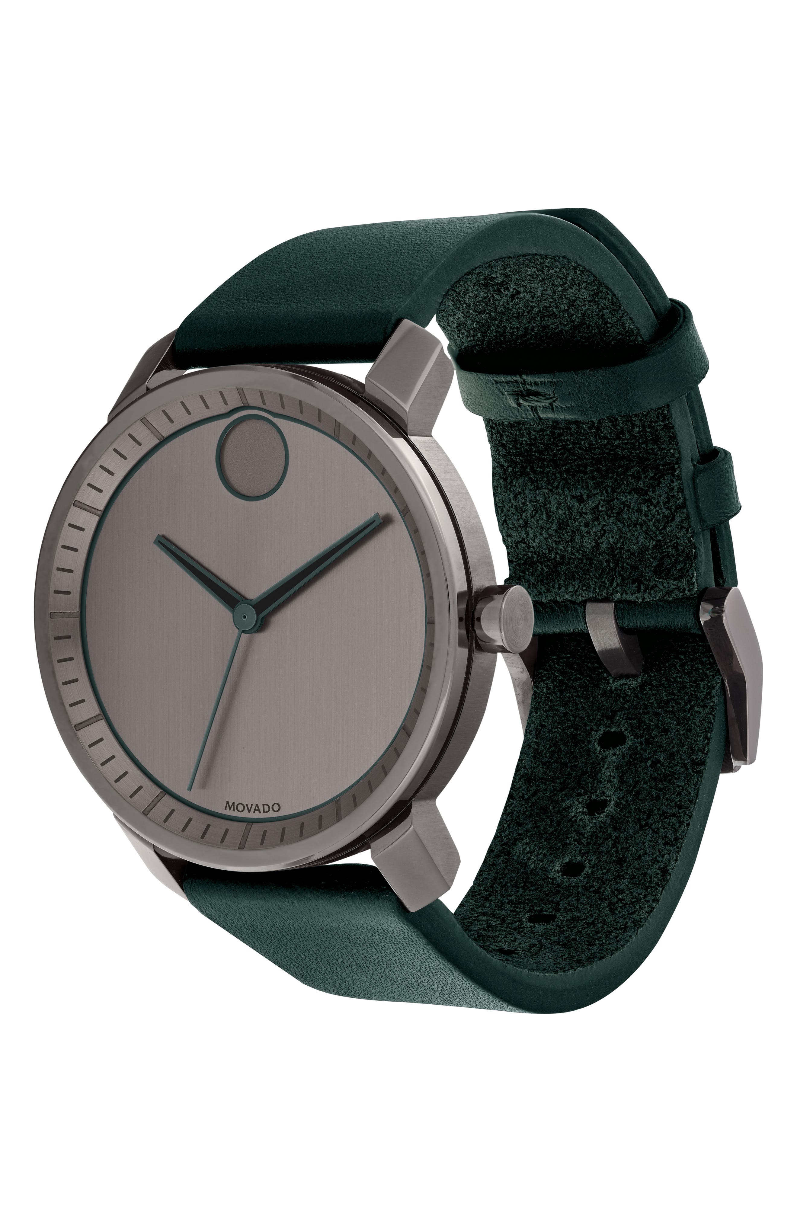 MOVADO, Bold Leather Strap Watch, 41mm, Alternate thumbnail 3, color, GREEN/ GUNMETAL