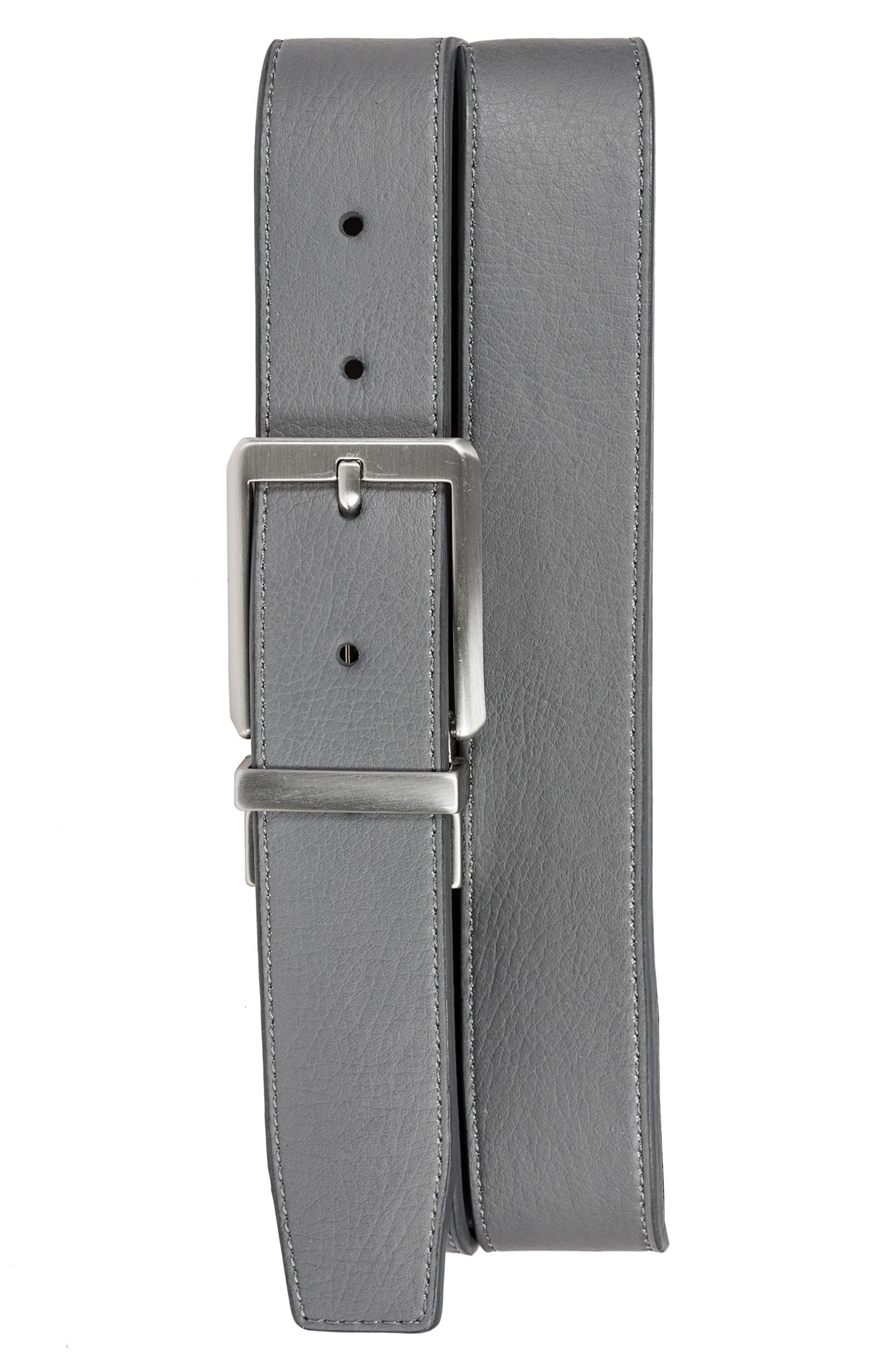 NIKE, Core Reversible Leather Belt, Alternate thumbnail 4, color, DARK GREY