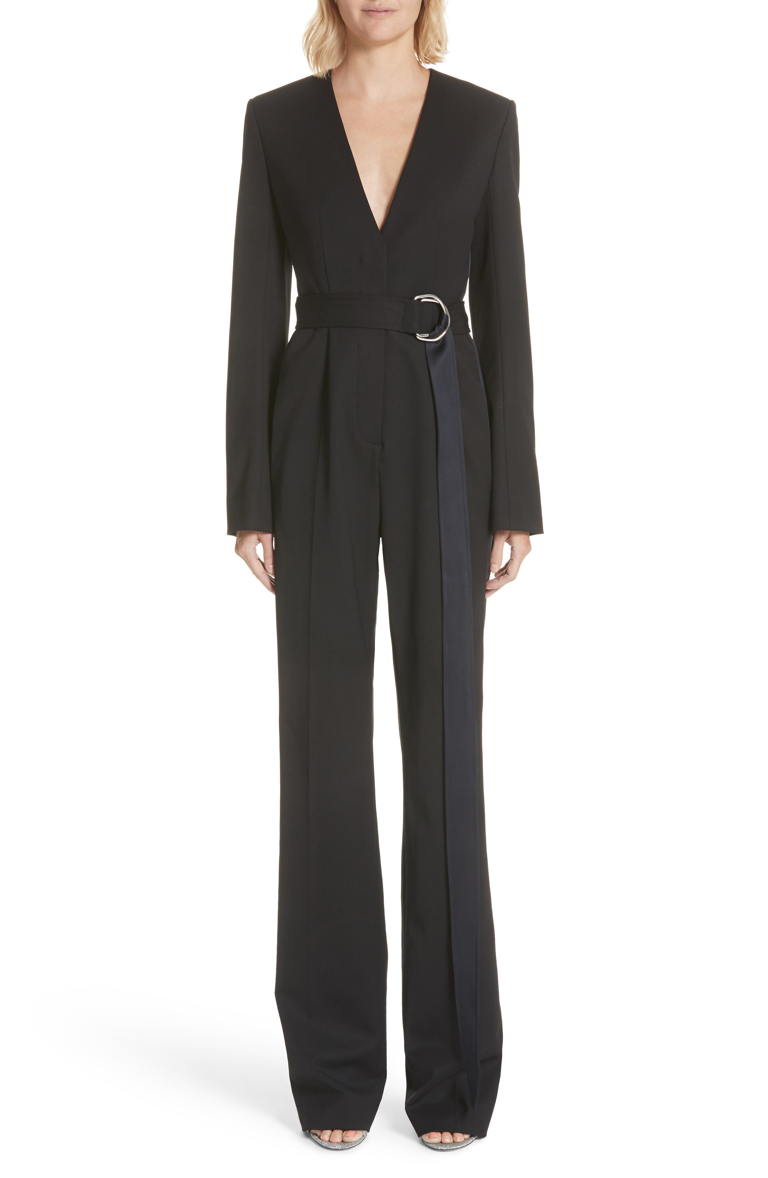 CALVIN KLEIN 205W39NYC, Side Stripe Wool Blend Jumpsuit, Main thumbnail 1, color, BLACK DARK NAVY