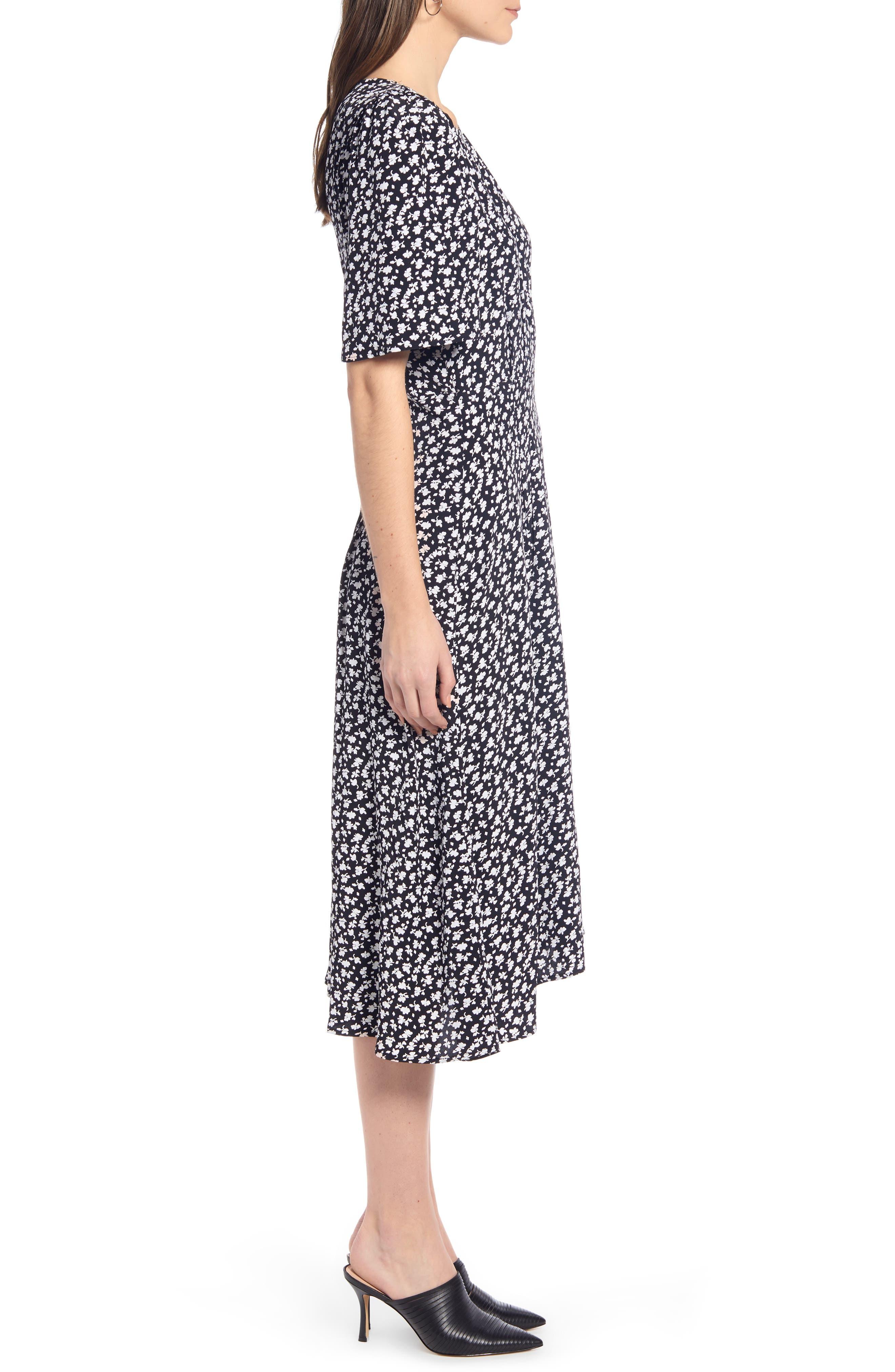 SOMETHING NAVY, Strong Shoulder Floral Print Midi Dress, Alternate thumbnail 5, color, SN BLACK VINTAGE FLORAL