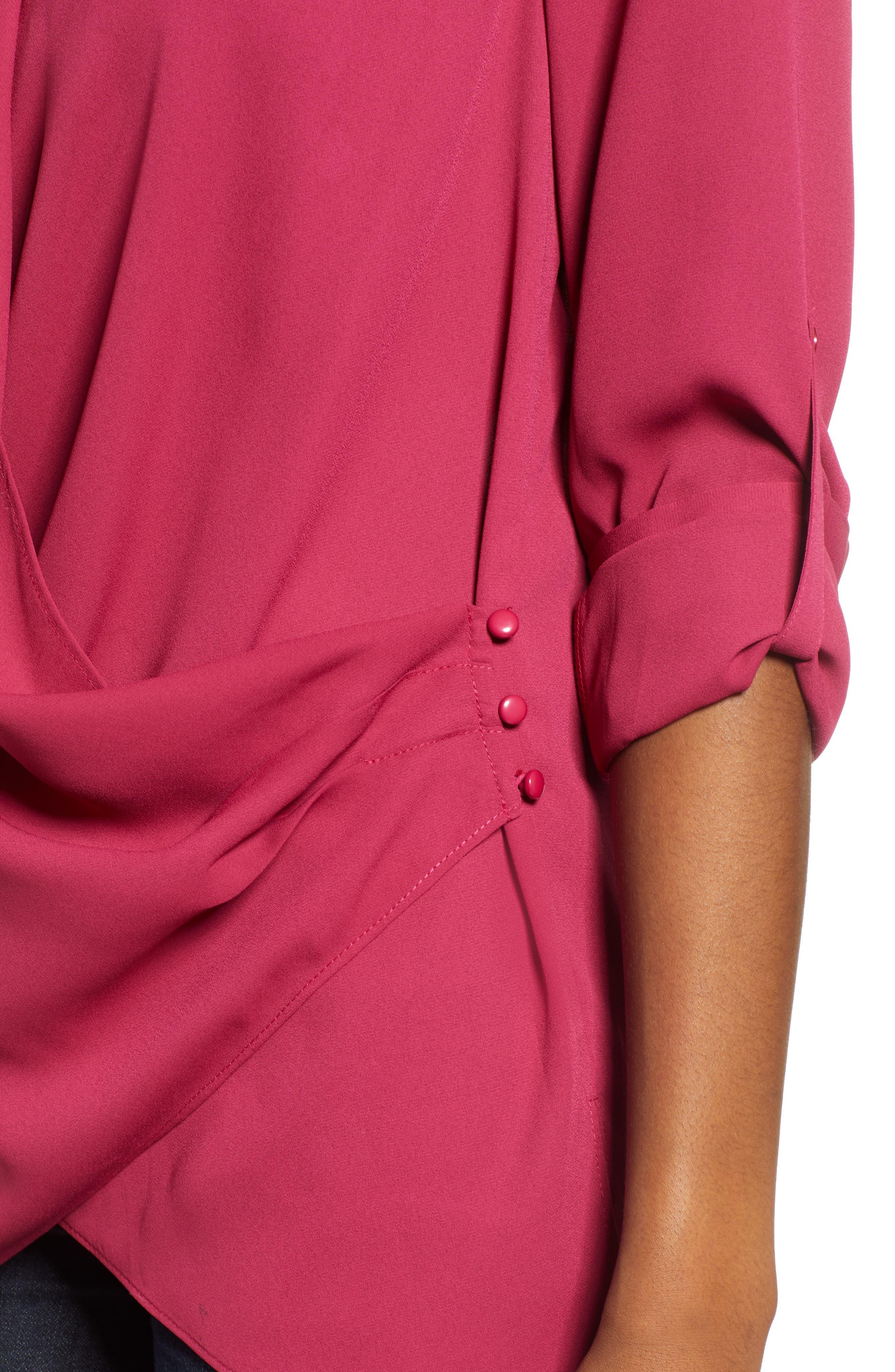 &.LAYERED, Side Drape Blouse, Alternate thumbnail 4, color, GRANITA