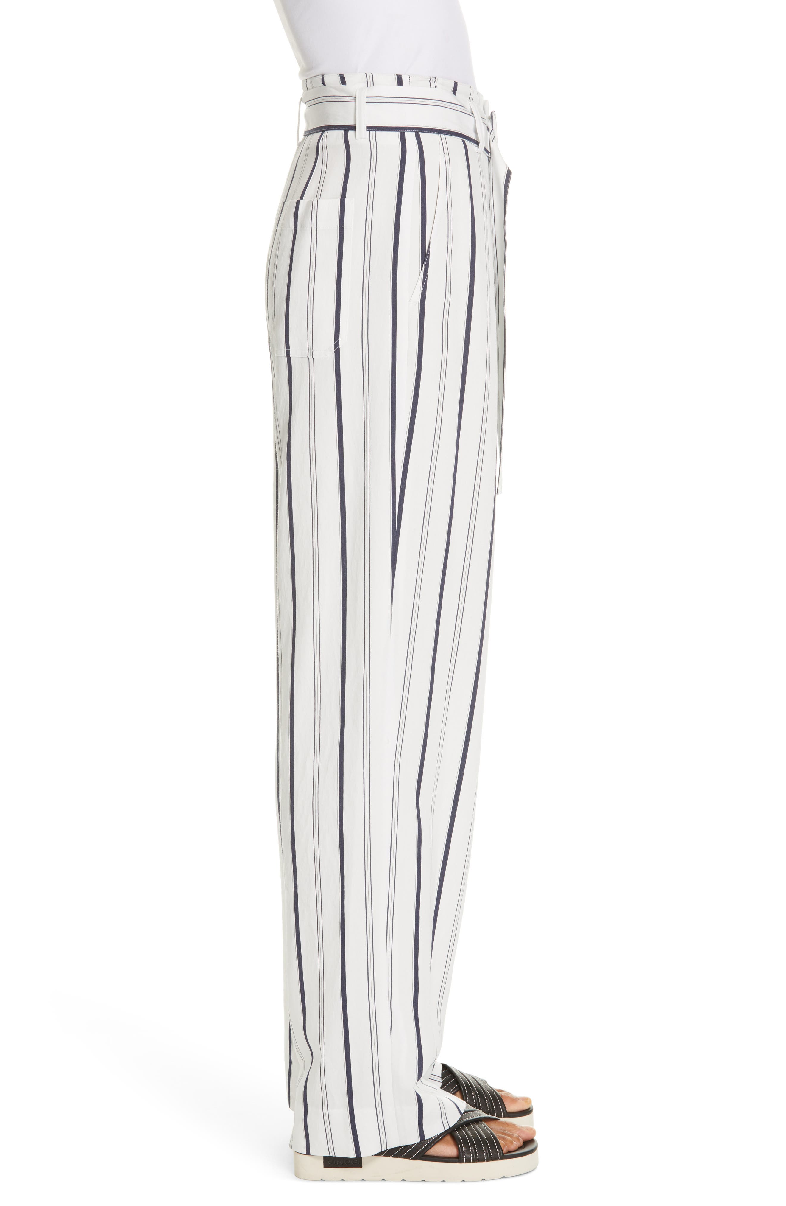 VINCE, Belted Stripe Pants, Alternate thumbnail 4, color, OFF WHITE