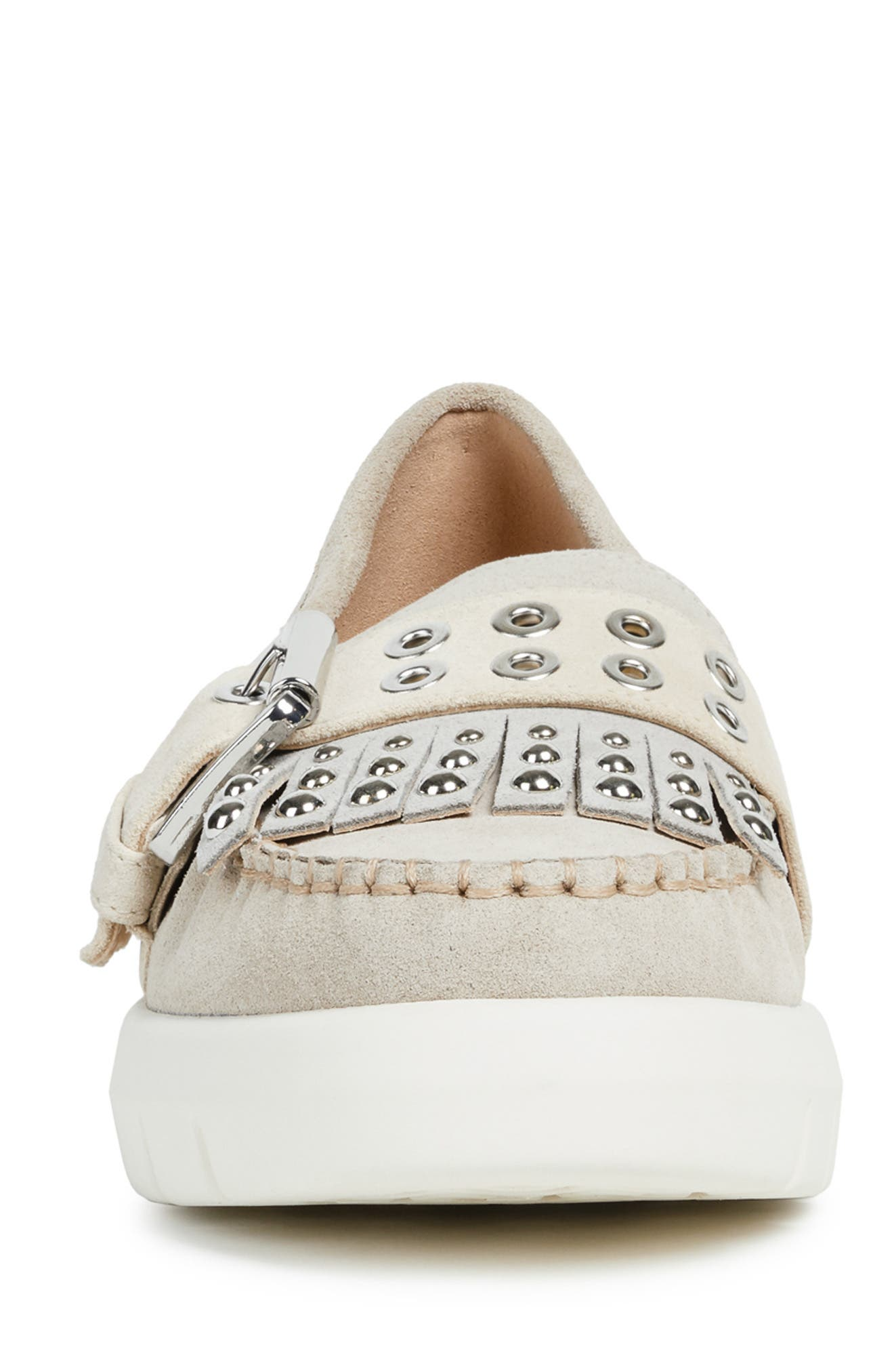 GEOX, Wimbley Studded Kiltie Loafer, Alternate thumbnail 4, color, LIGHT TAUPE/ GREY SUEDE