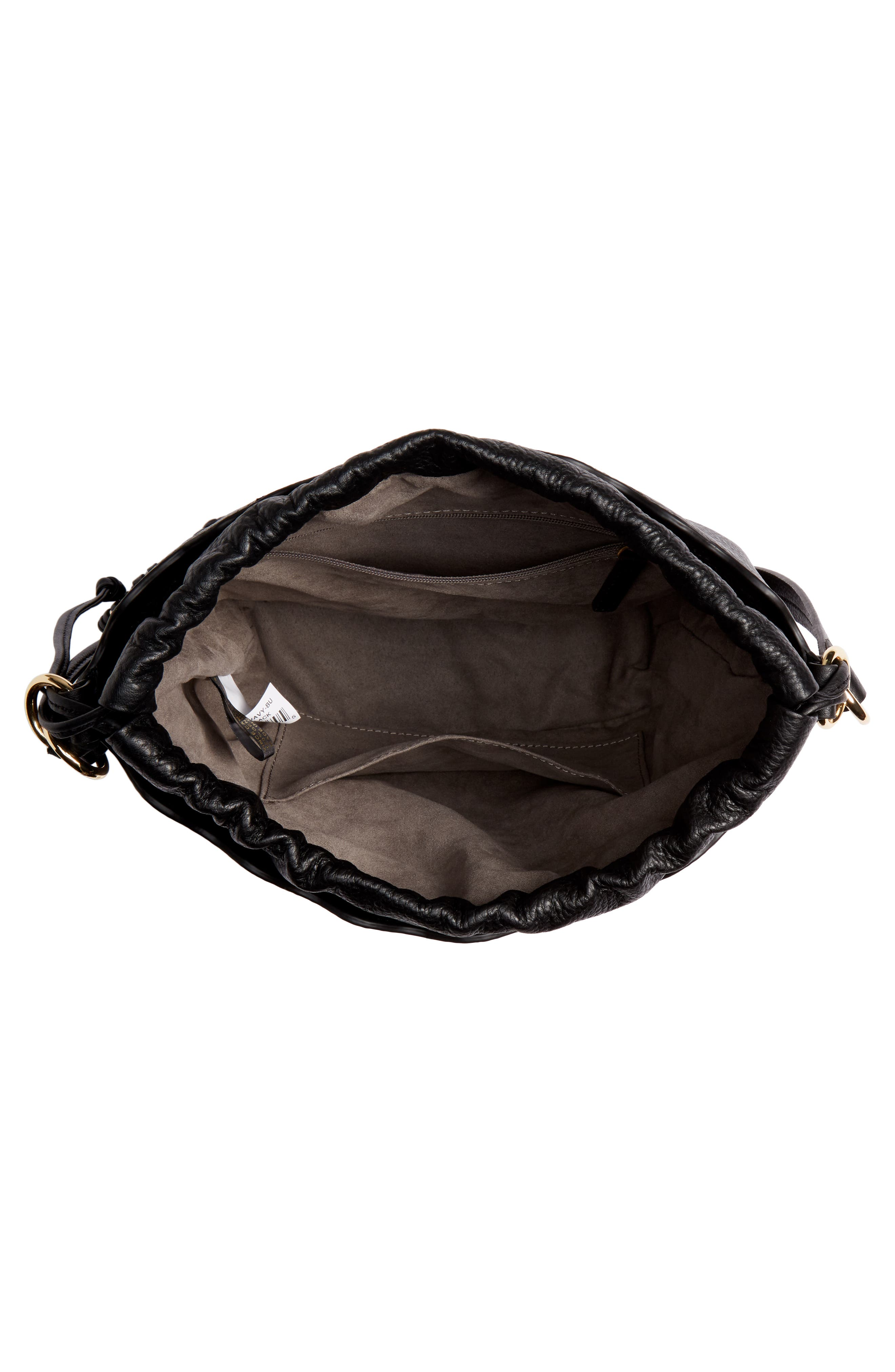 VINCE CAMUTO, Wavy Leather Bucket Bag, Alternate thumbnail 5, color, BLACK