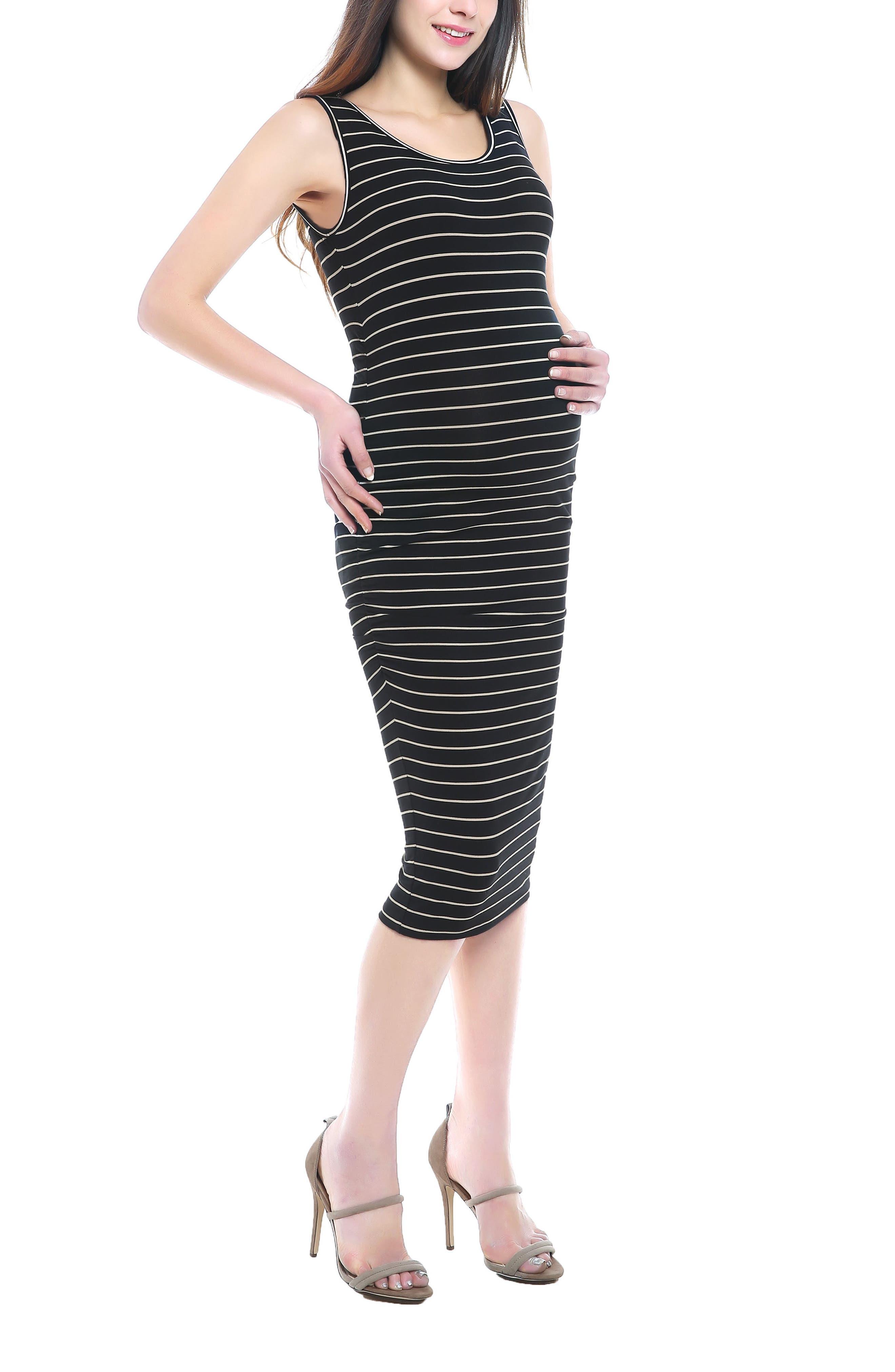 KIMI AND KAI, Tobi Stripe Maternity Dress, Alternate thumbnail 4, color, BLACK/ BEIGE