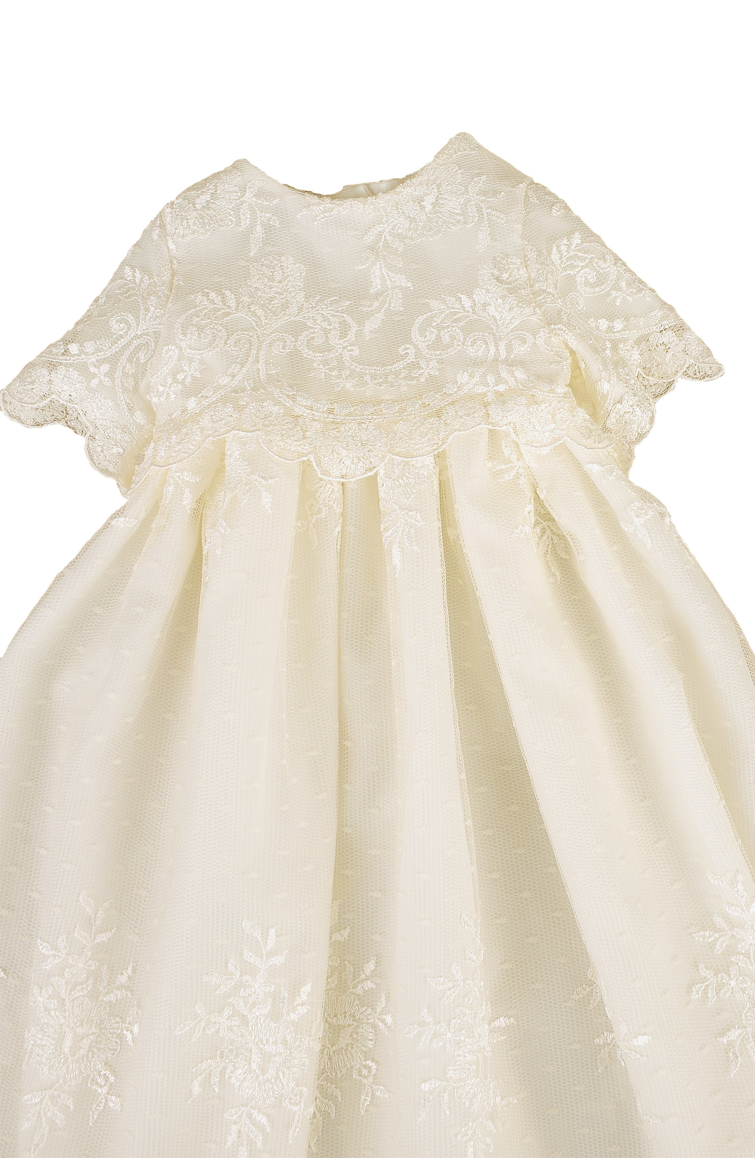 LITTLE THINGS MEAN A LOT, Christening Gown, Shawl, Slip & Bonnet Set, Alternate thumbnail 3, color, IVORY