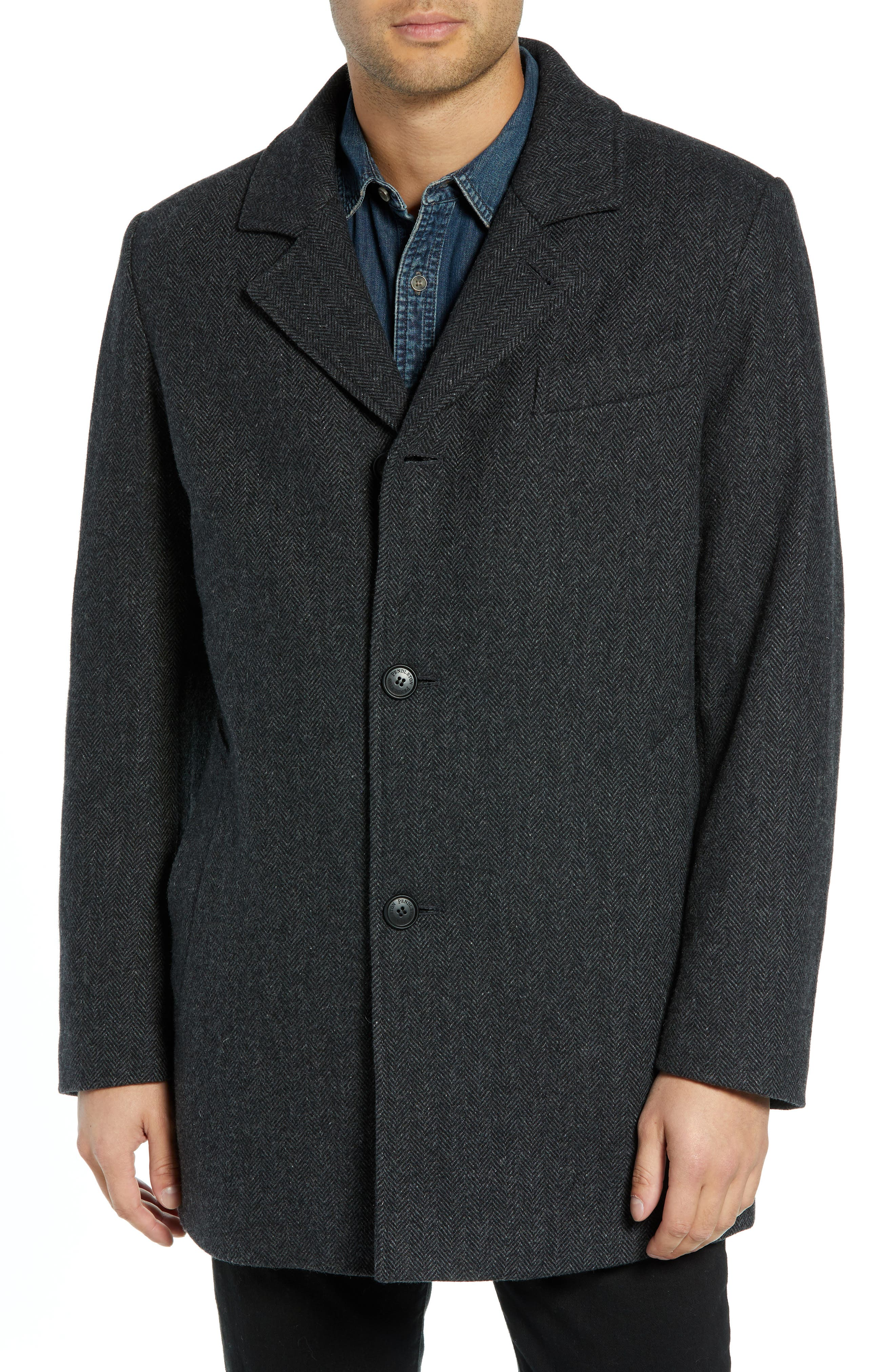 PENDLETON, Iconic Textures Manhattan Wool Blend Top Coat, Alternate thumbnail 5, color, CHARCOAL HERRINGBONE