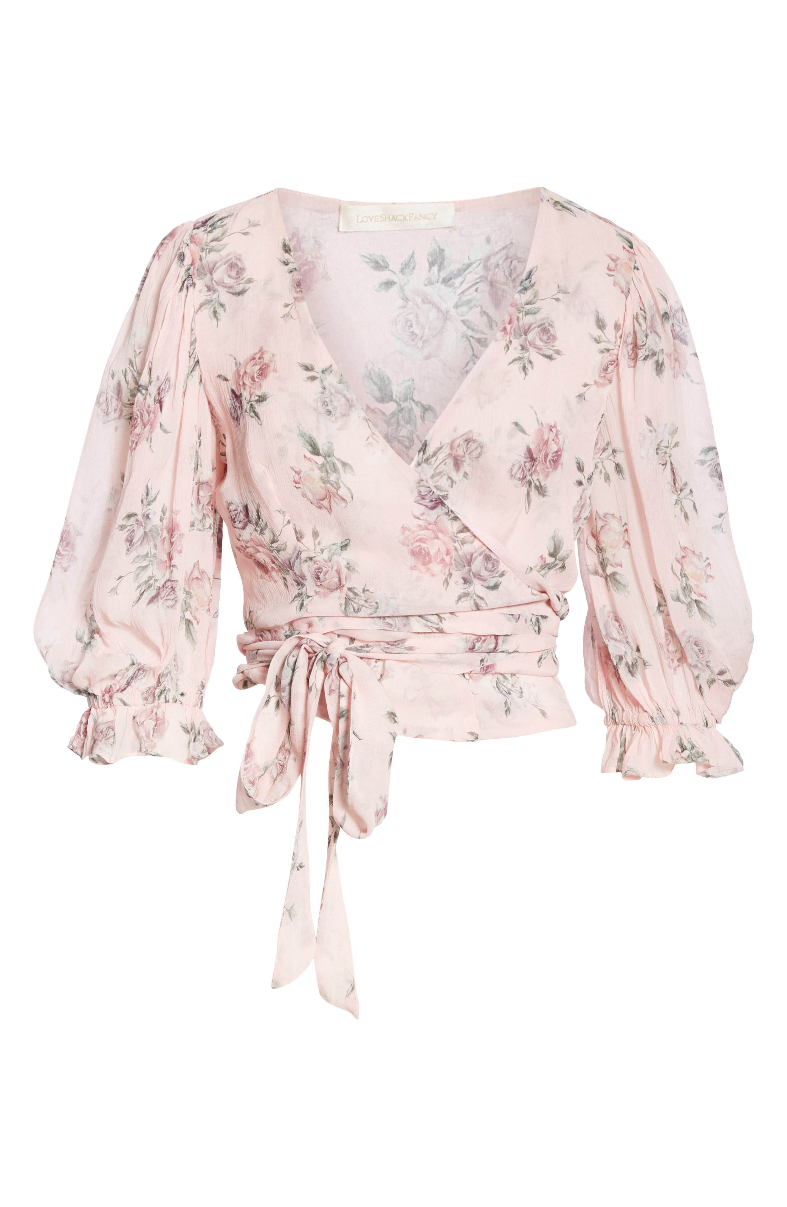 LOVESHACKFANCY, Domino Floral Silk Wrap Blouse, Alternate thumbnail 6, color, PINK CANOPY