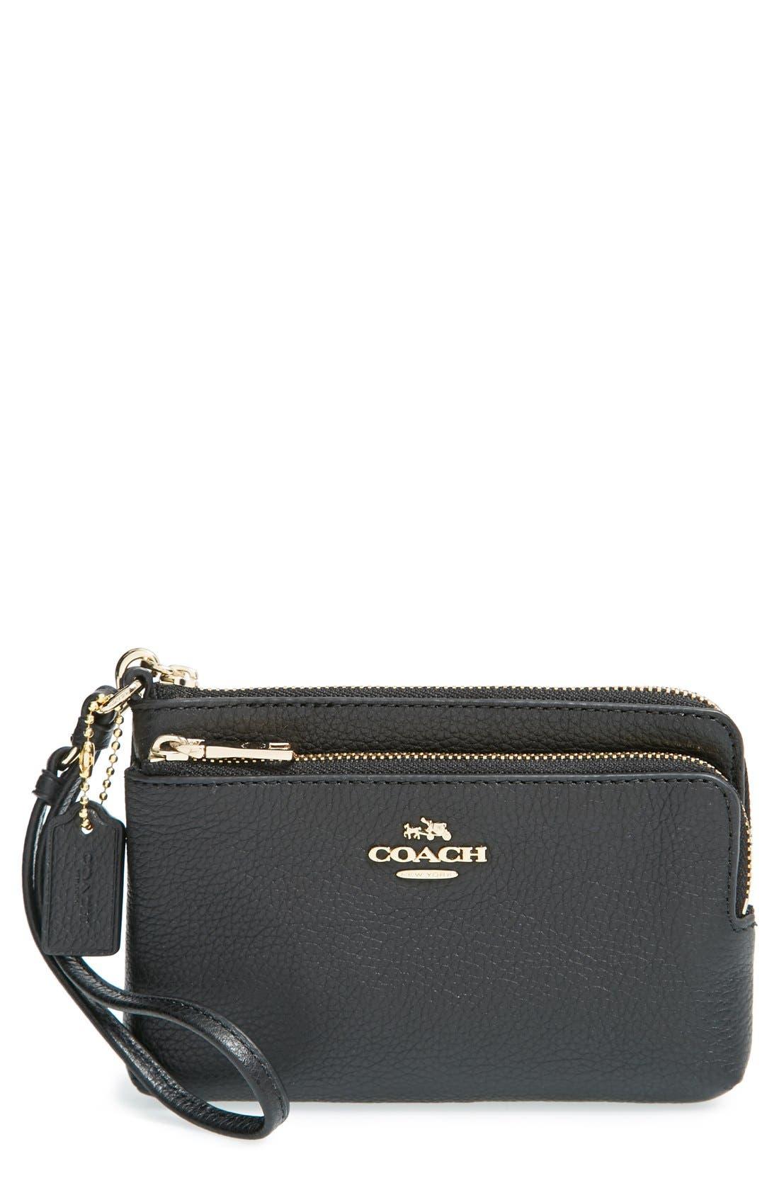 COACH, 'Madison' Double Zip Leather Wallet, Main thumbnail 1, color, 001