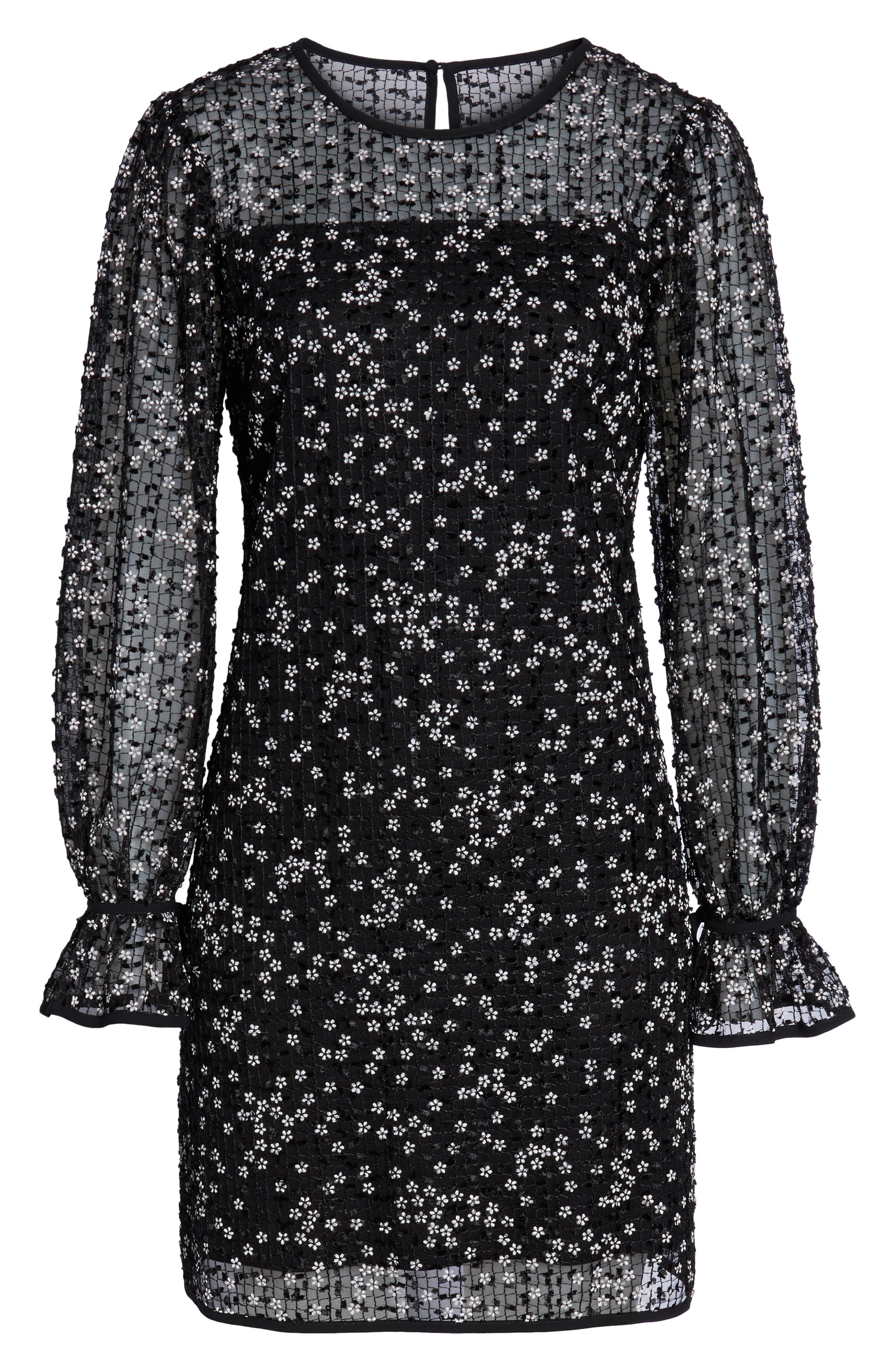 CHELSEA28, Floral Grid Shift Dress, Alternate thumbnail 7, color, 001