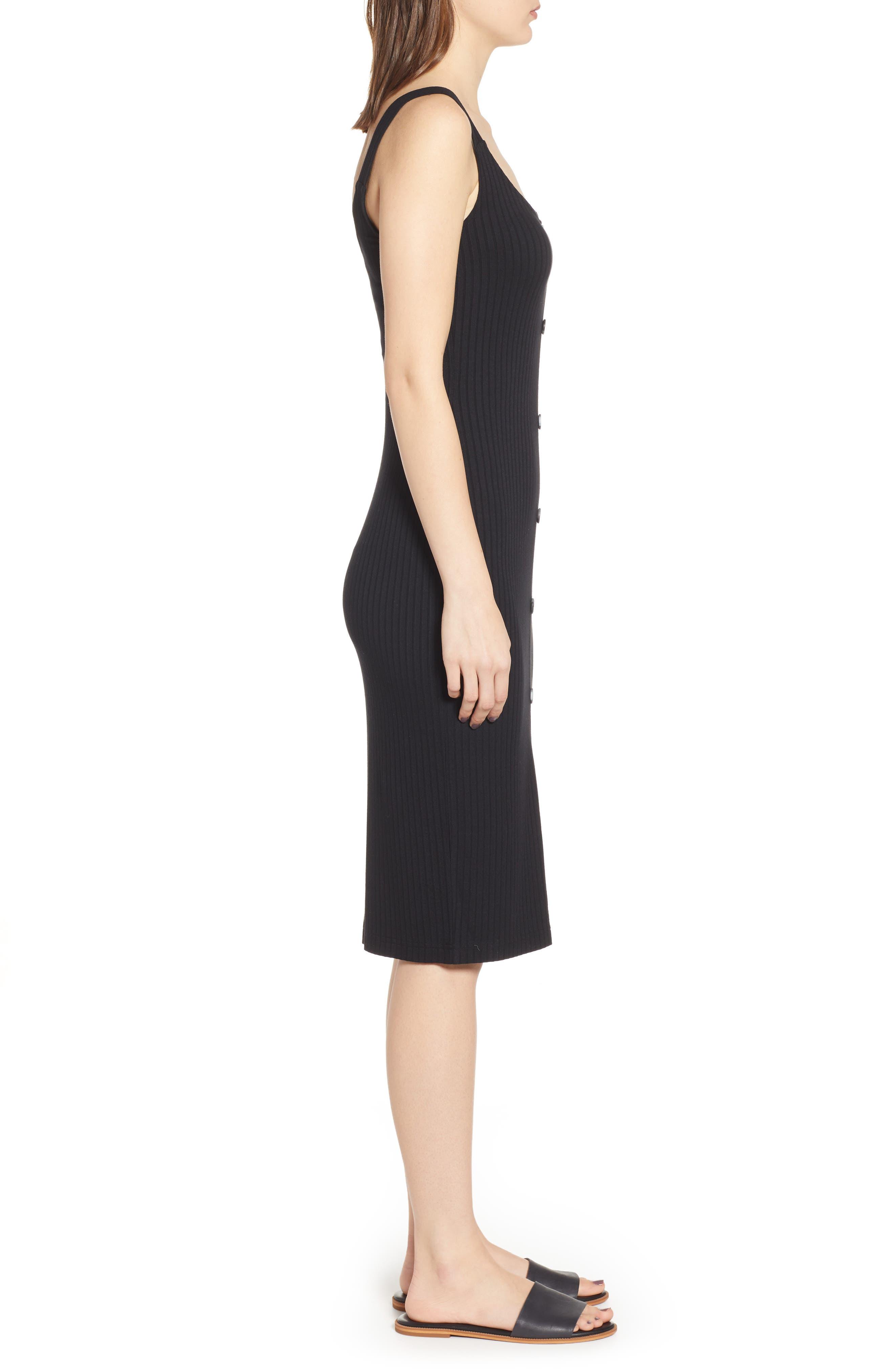 BP., Button Front Dress, Alternate thumbnail 4, color, BLACK