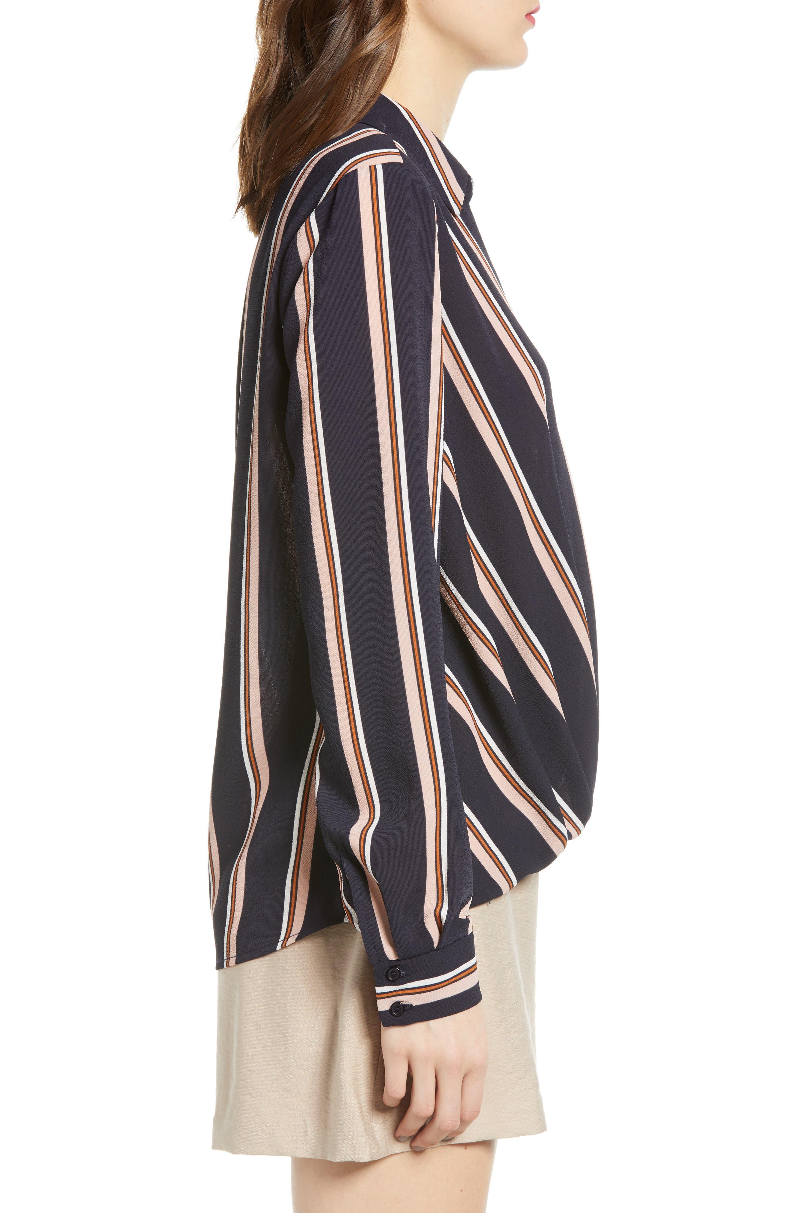 ALL IN FAVOR, Patterned Drape Front Blouse, Alternate thumbnail 3, color, NAVY STRIPE