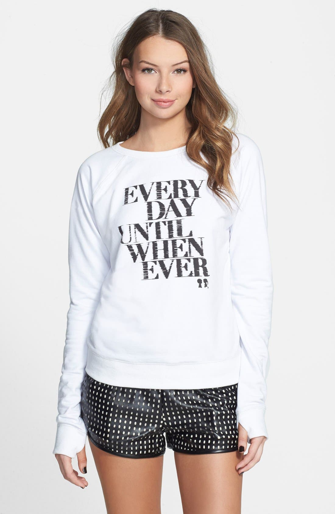 BOY MEETS GIRL, 'Every Day' Graphic French Terry Sweatshirt, Main thumbnail 1, color, 100