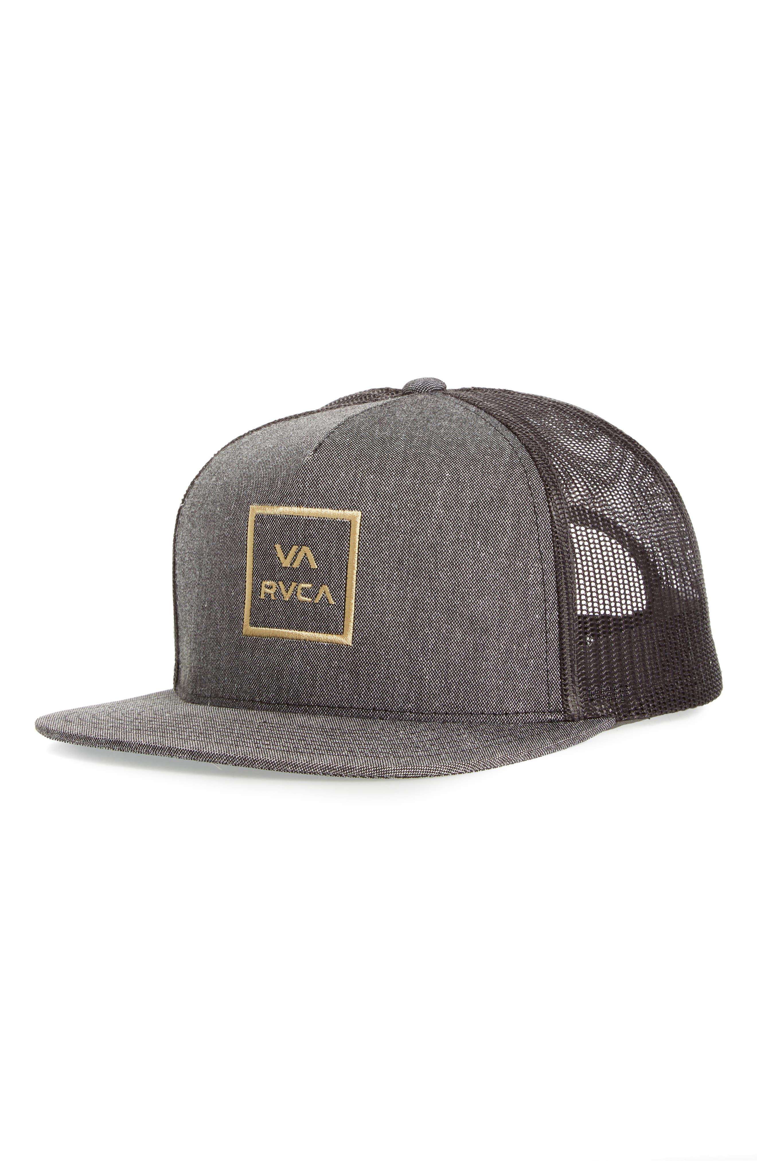 RVCA, VA All the Way Trucker Hat, Main thumbnail 1, color, DARK CHARCOAL HEATHER