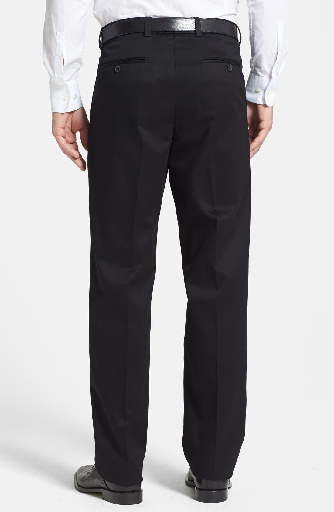NORDSTROM MEN'S SHOP, 'Classic' Smartcare<sup>™</sup> Relaxed Fit Double Pleated Cotton Pants, Alternate thumbnail 9, color, BLACK