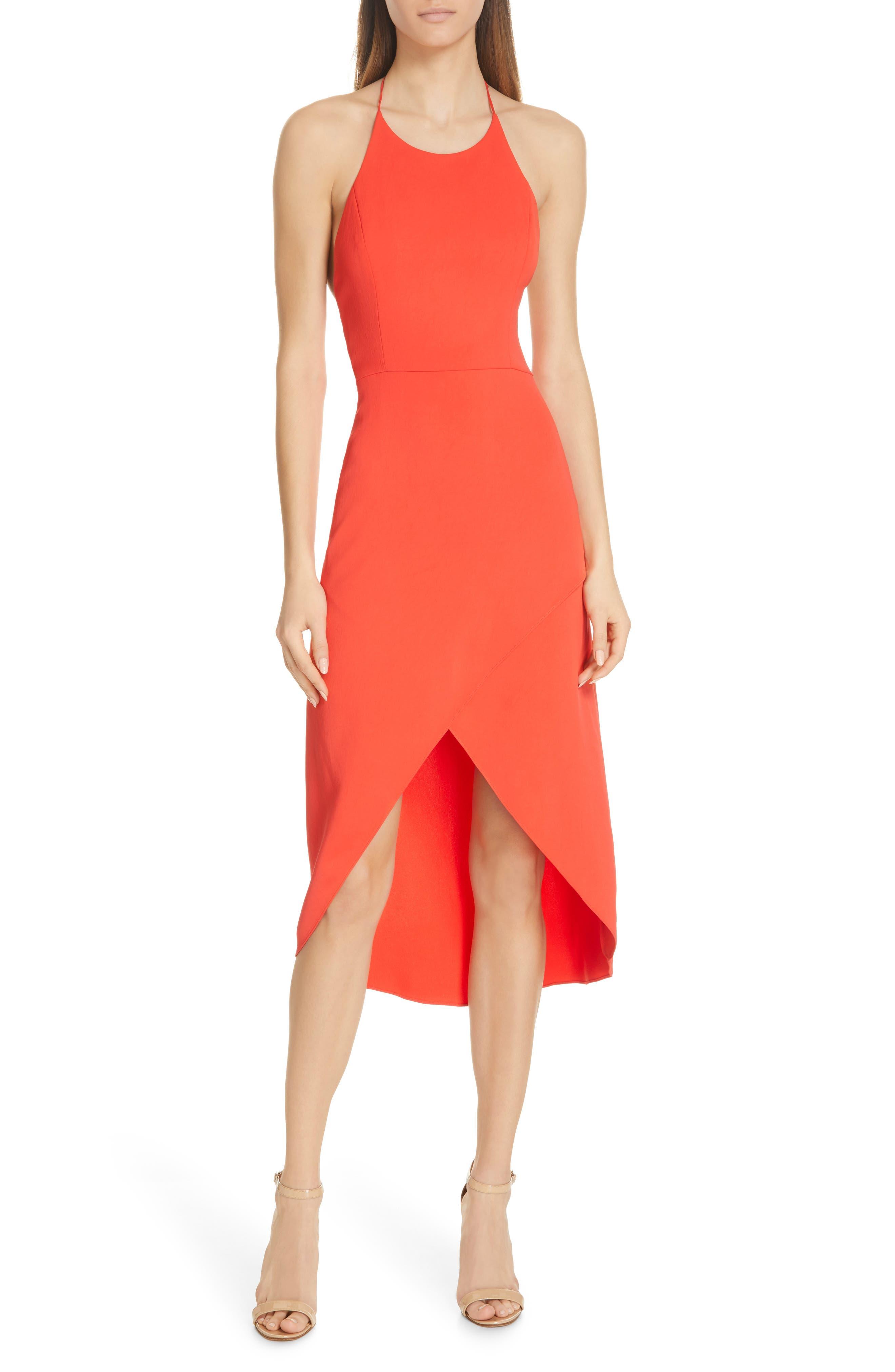 Alice + Olivia Kristy Halter Neck High/low Dress, Red