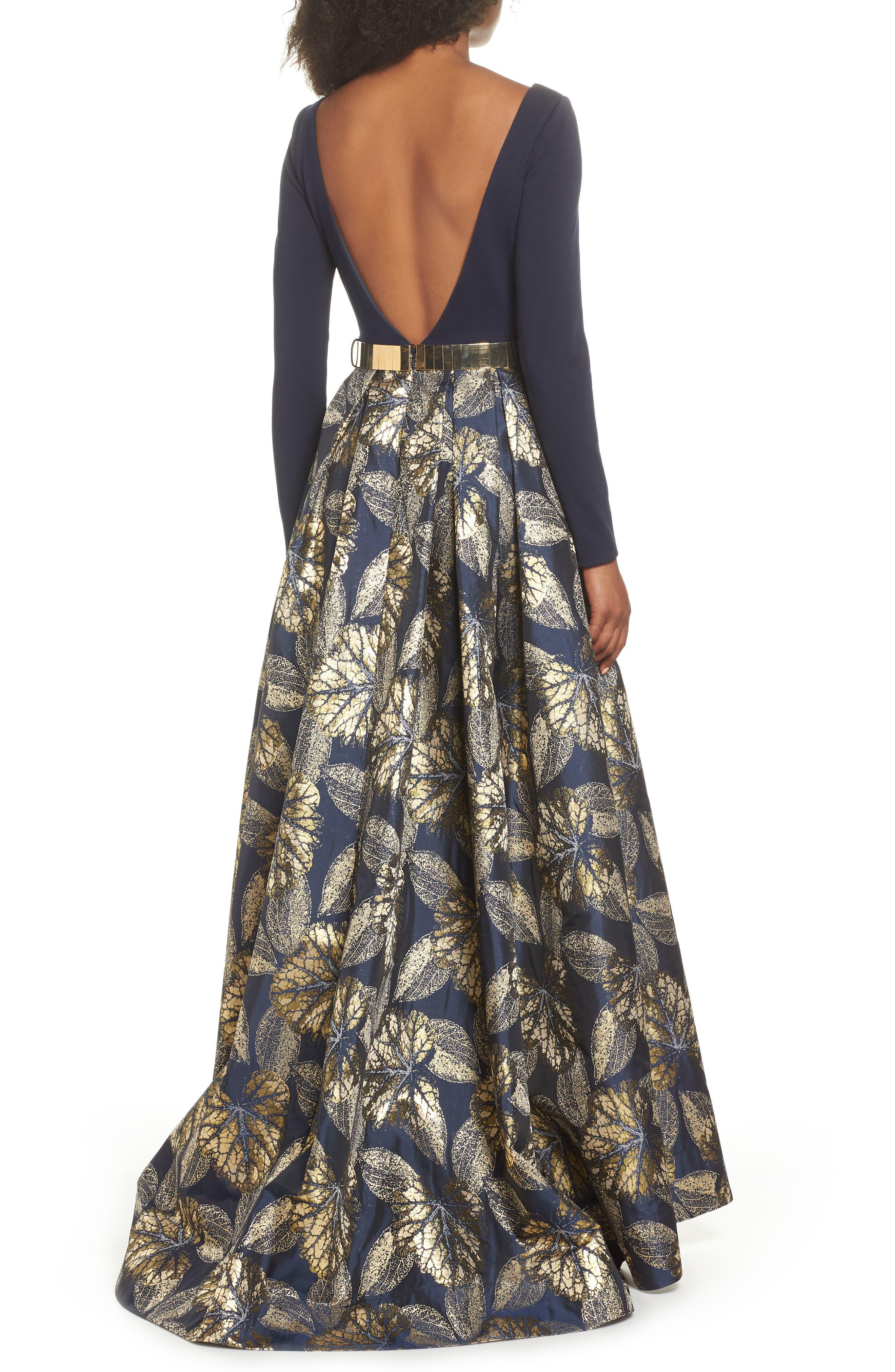 IEENA FOR MAC DUGGAL, Mac Duggal Long Sleeve Metallic Waist Print Gown, Alternate thumbnail 2, color, NAVY GOLD