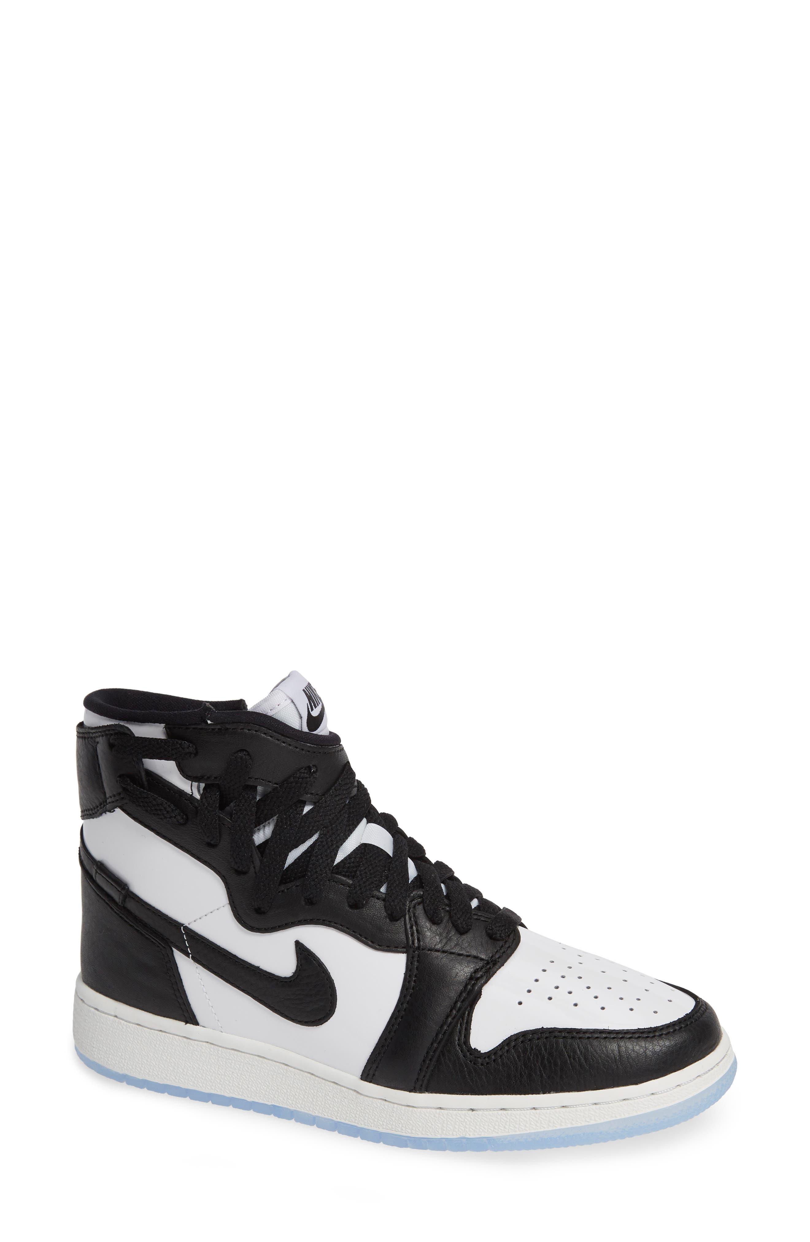 NIKE, Air Jordan 1 Rebel XX High Top Sneaker, Main thumbnail 1, color, BLACK/ BLACK