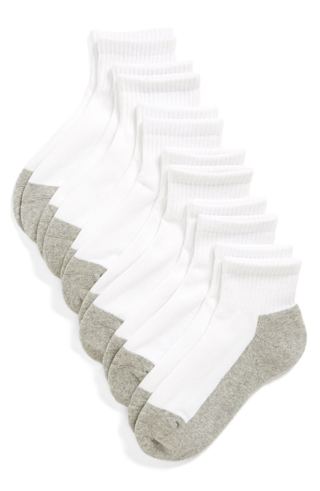 TUCKER + TATE 6-Pack Active Quarter Socks, Main, color, WHITE/ GREY