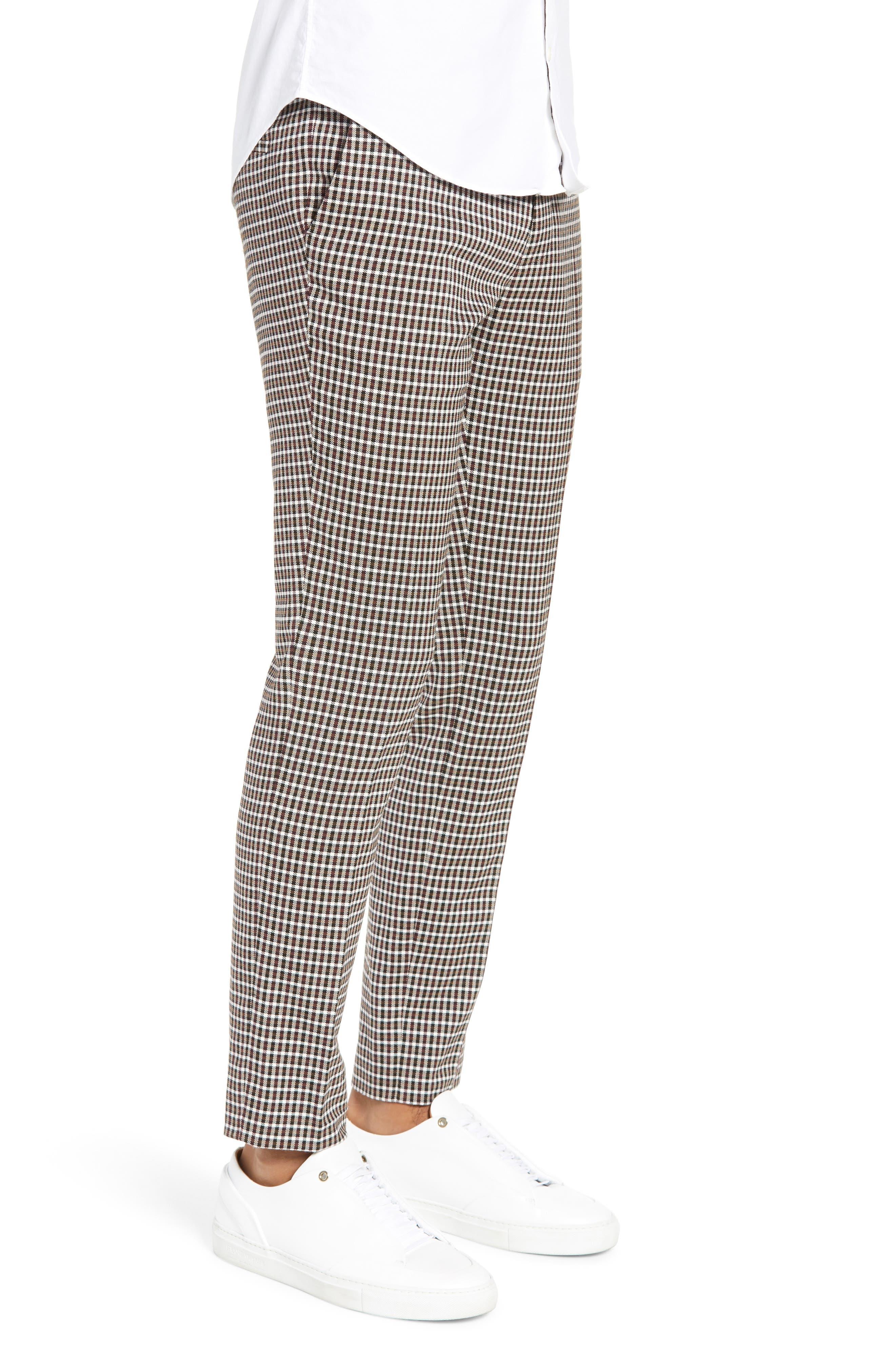 TOPMAN, Multicheck Skinny Fit Trousers, Alternate thumbnail 3, color, BLACK MULTI