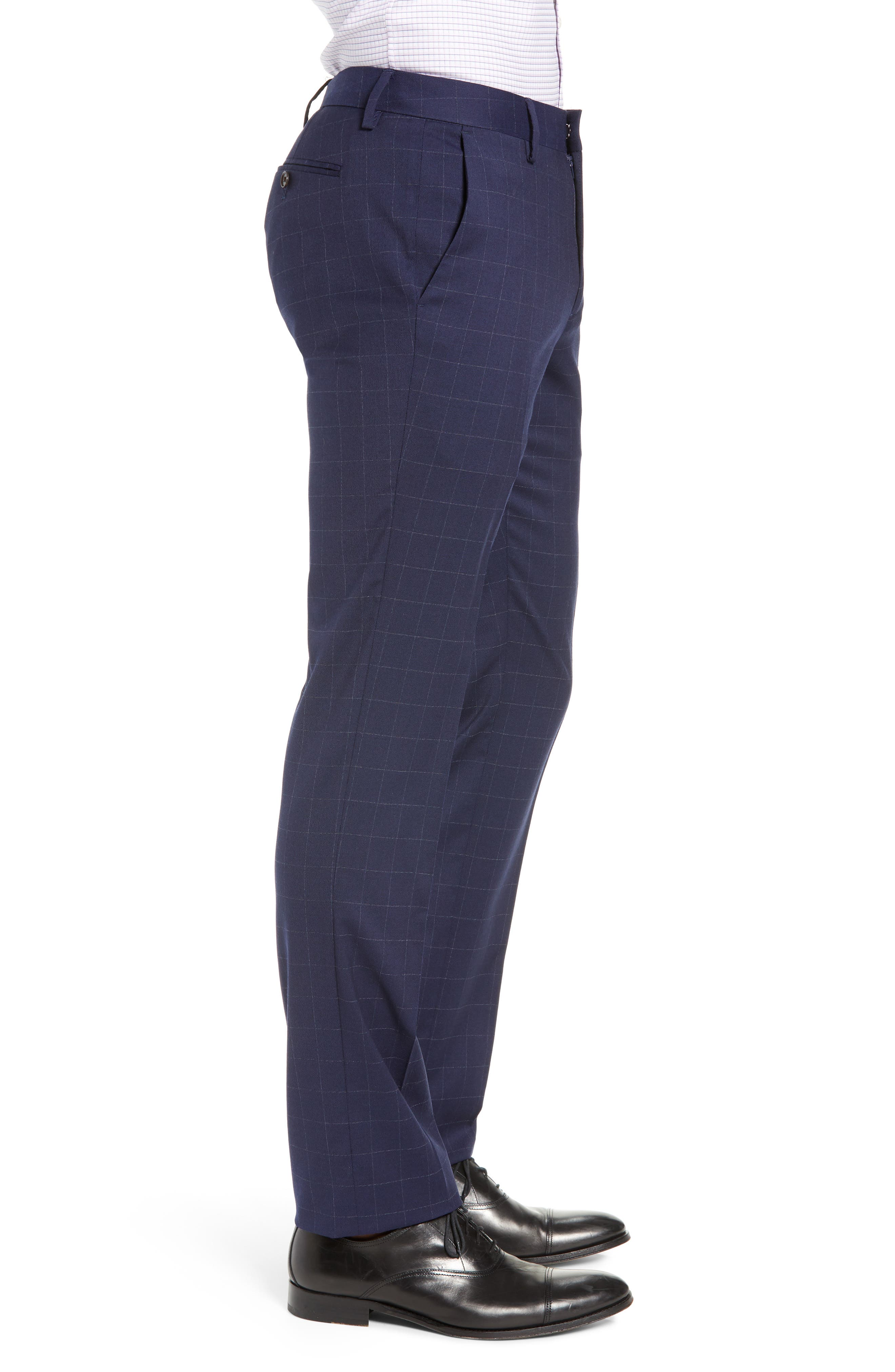BONOBOS, Jetsetter Slim Fit Stretch Suit Pants, Alternate thumbnail 3, color, NAVY CHALK WINDOWPANE
