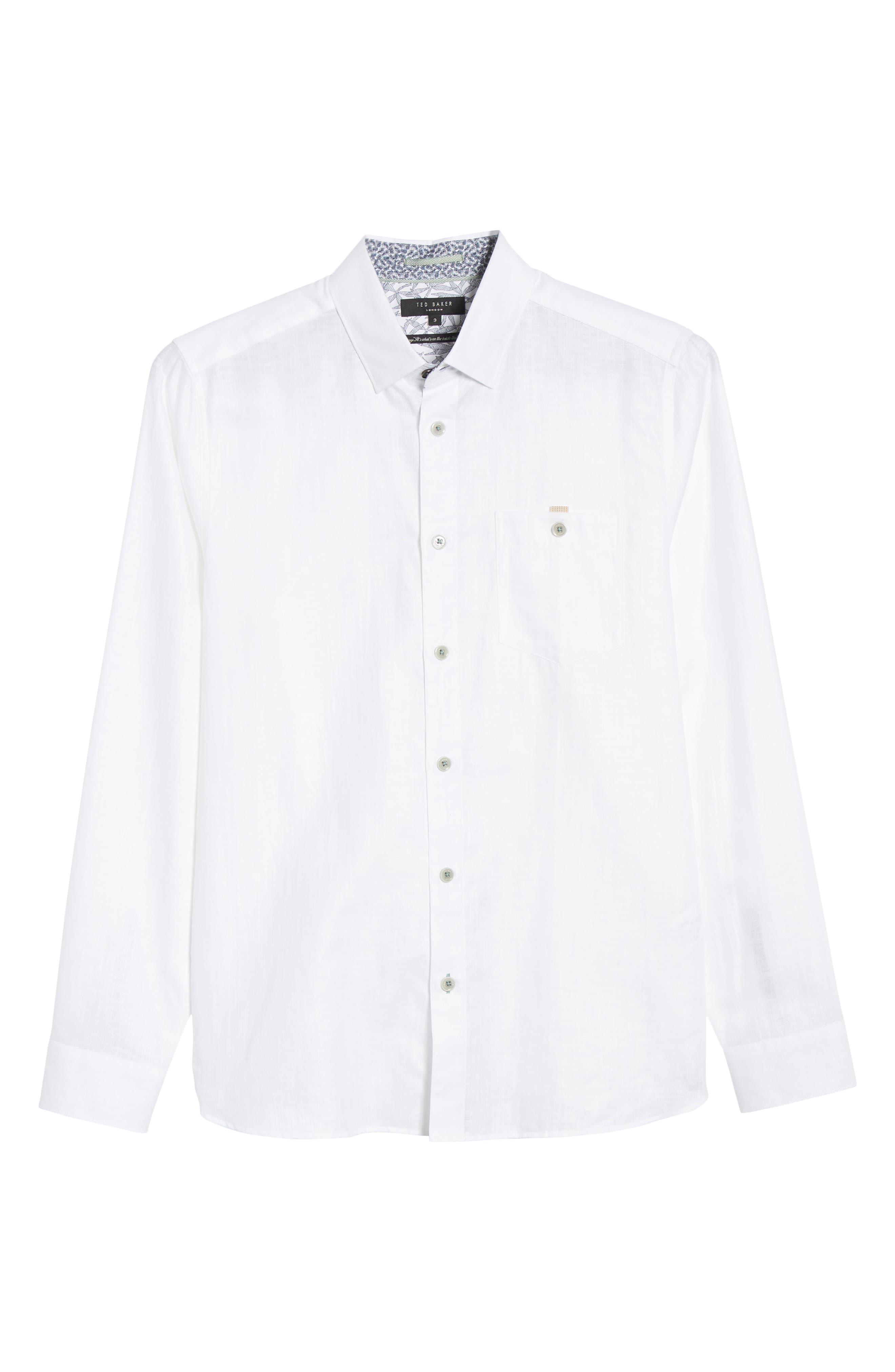 TED BAKER LONDON, Emuu Slim Fit Linen Shirt, Alternate thumbnail 6, color, WHITE