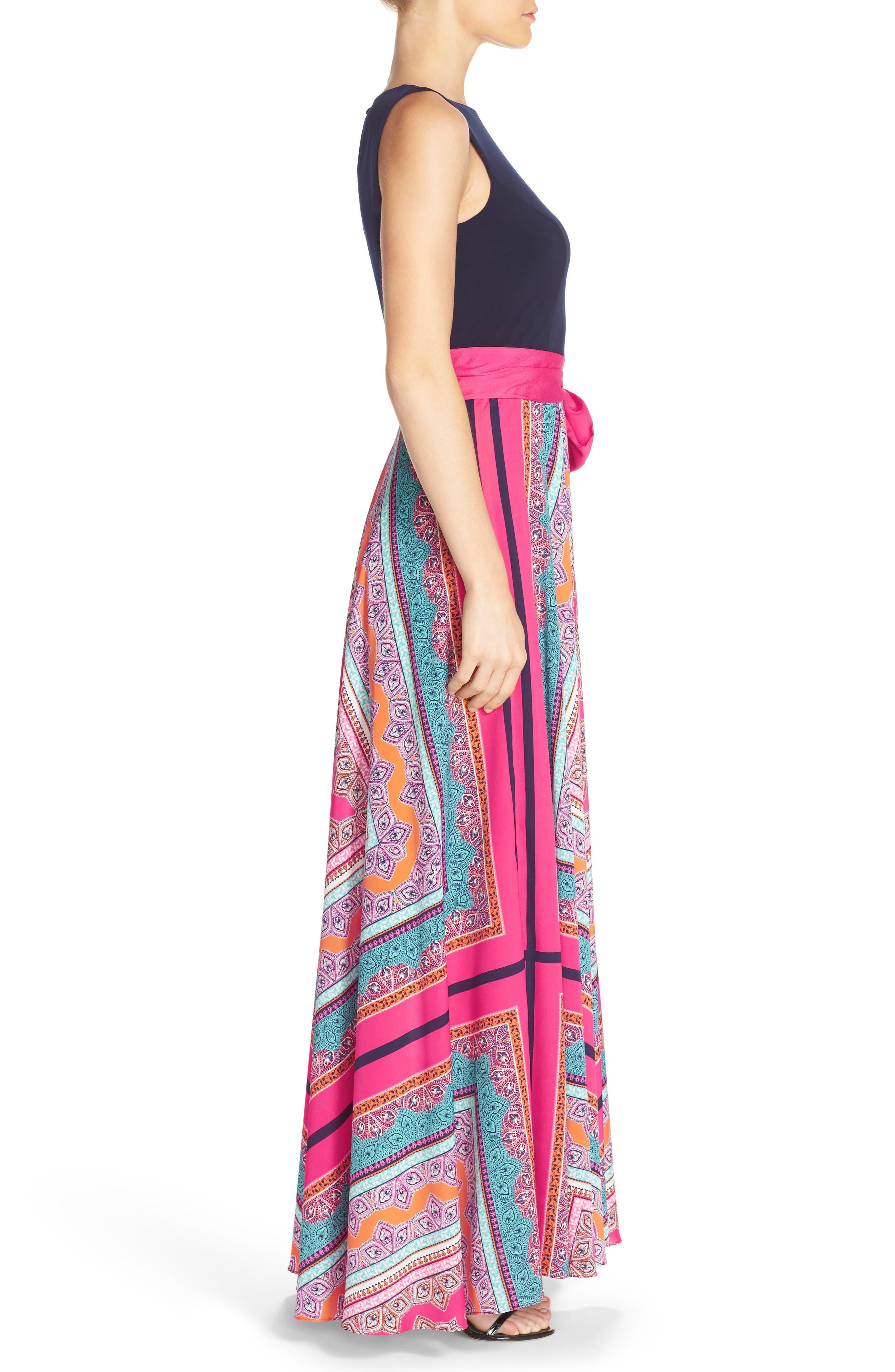ELIZA J, Scarf Print Jersey & Crêpe de Chine Maxi Dress, Alternate thumbnail 4, color, PINK