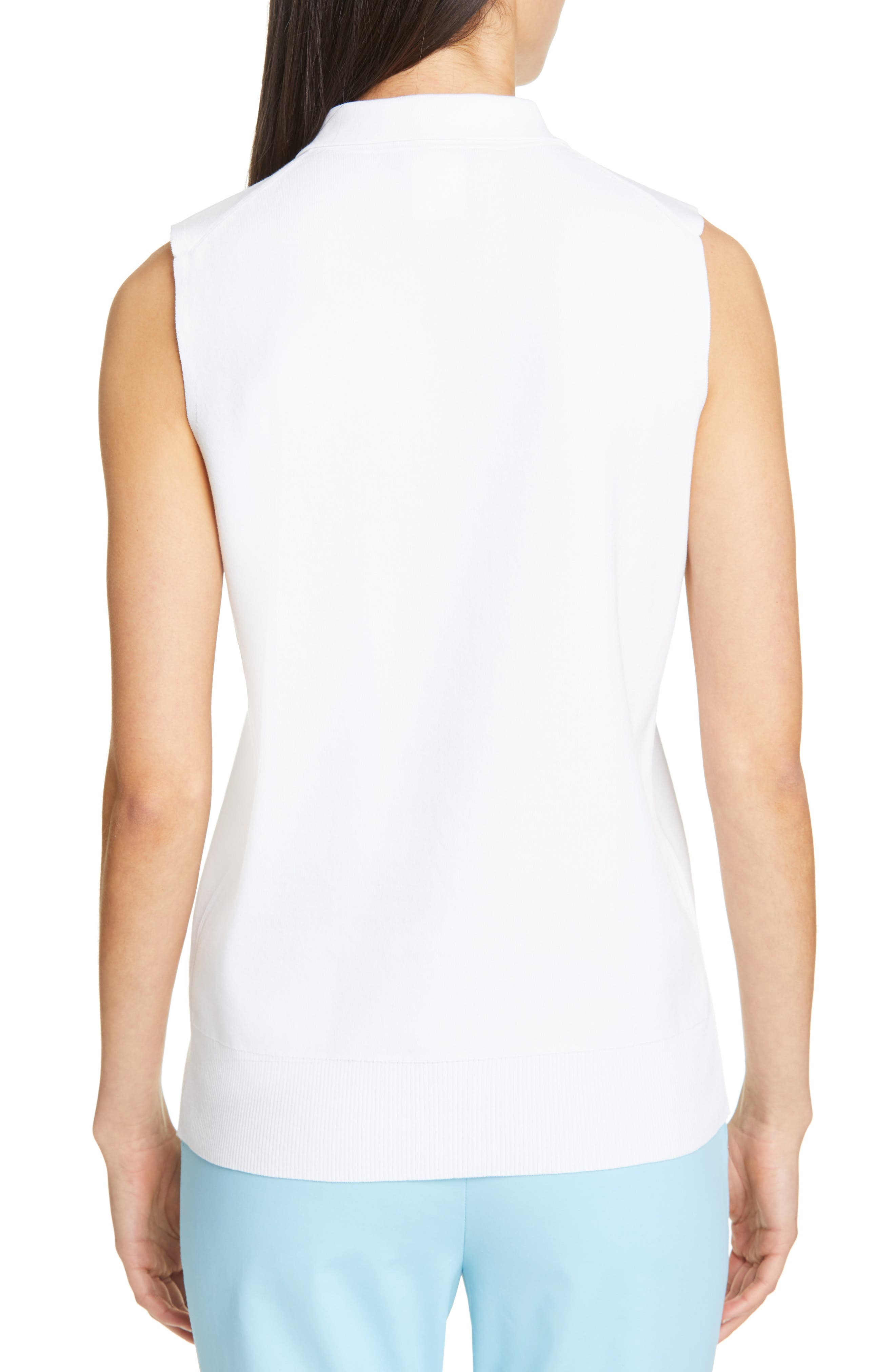 LAFAYETTE 148 NEW YORK, Lafayette Fitted Sleeveless Polo Sweater, Alternate thumbnail 2, color, WHITE