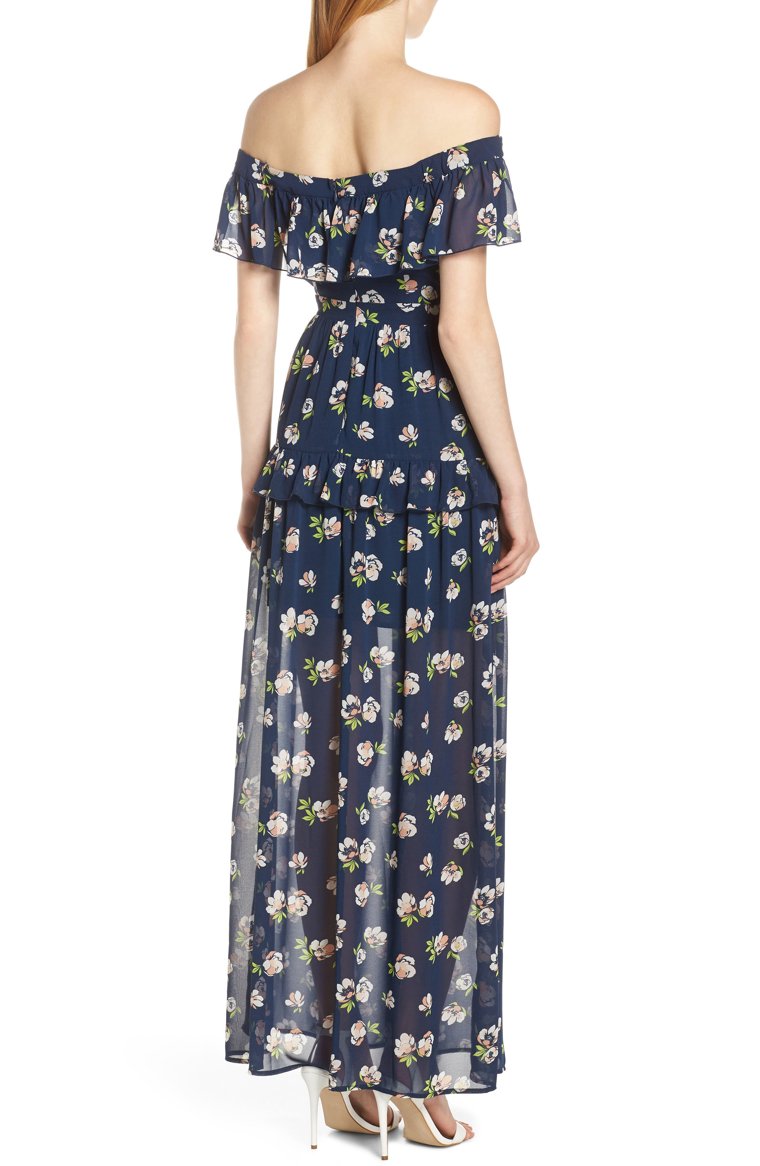 CHARLES HENRY, Off the Shoulder Ruffle Maxi Dress, Alternate thumbnail 2, color, NAVY PEACH FLORAL