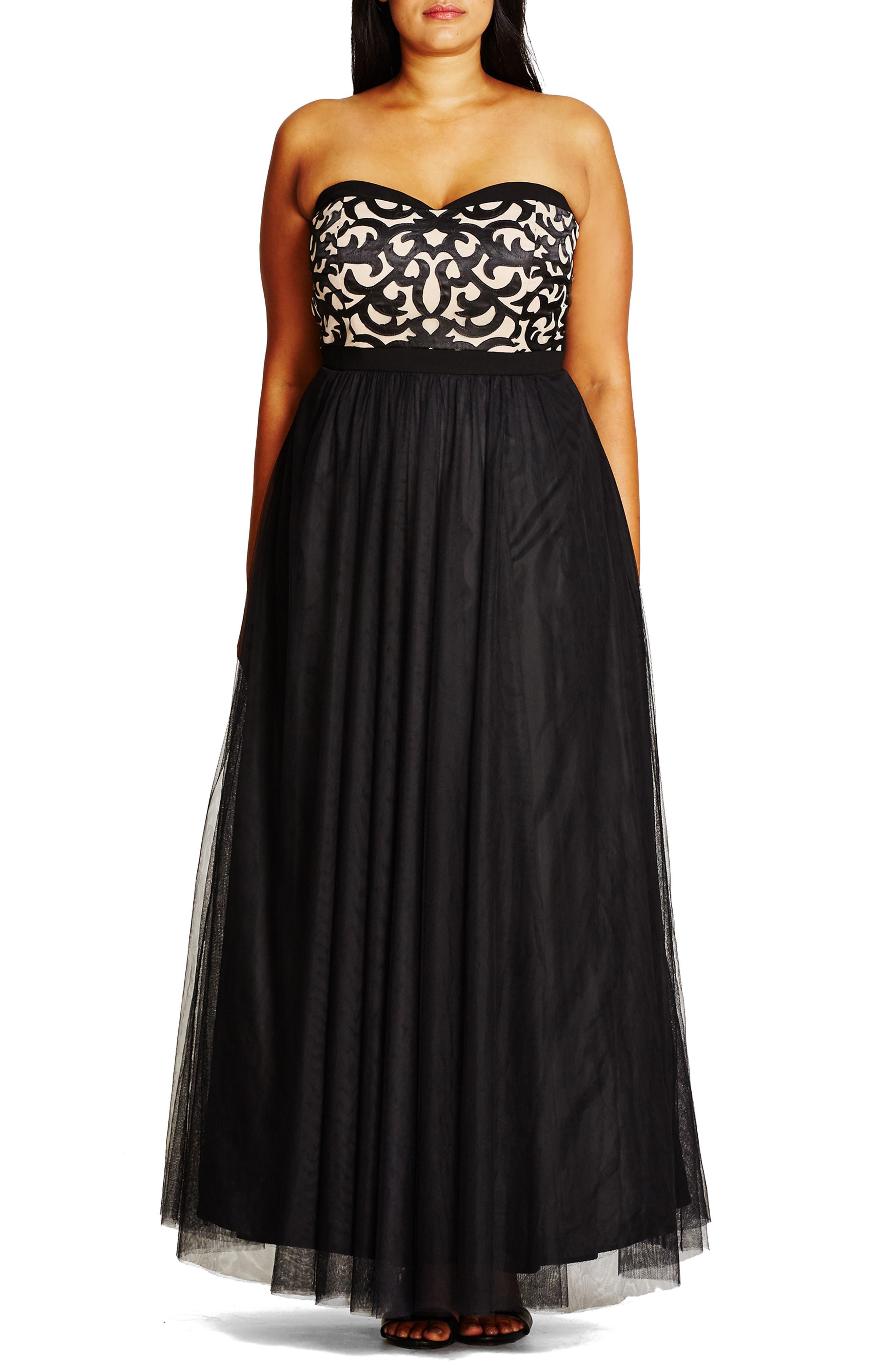 CITY CHIC, 'It Girl' Maxi Dress, Alternate thumbnail 2, color, BLACK