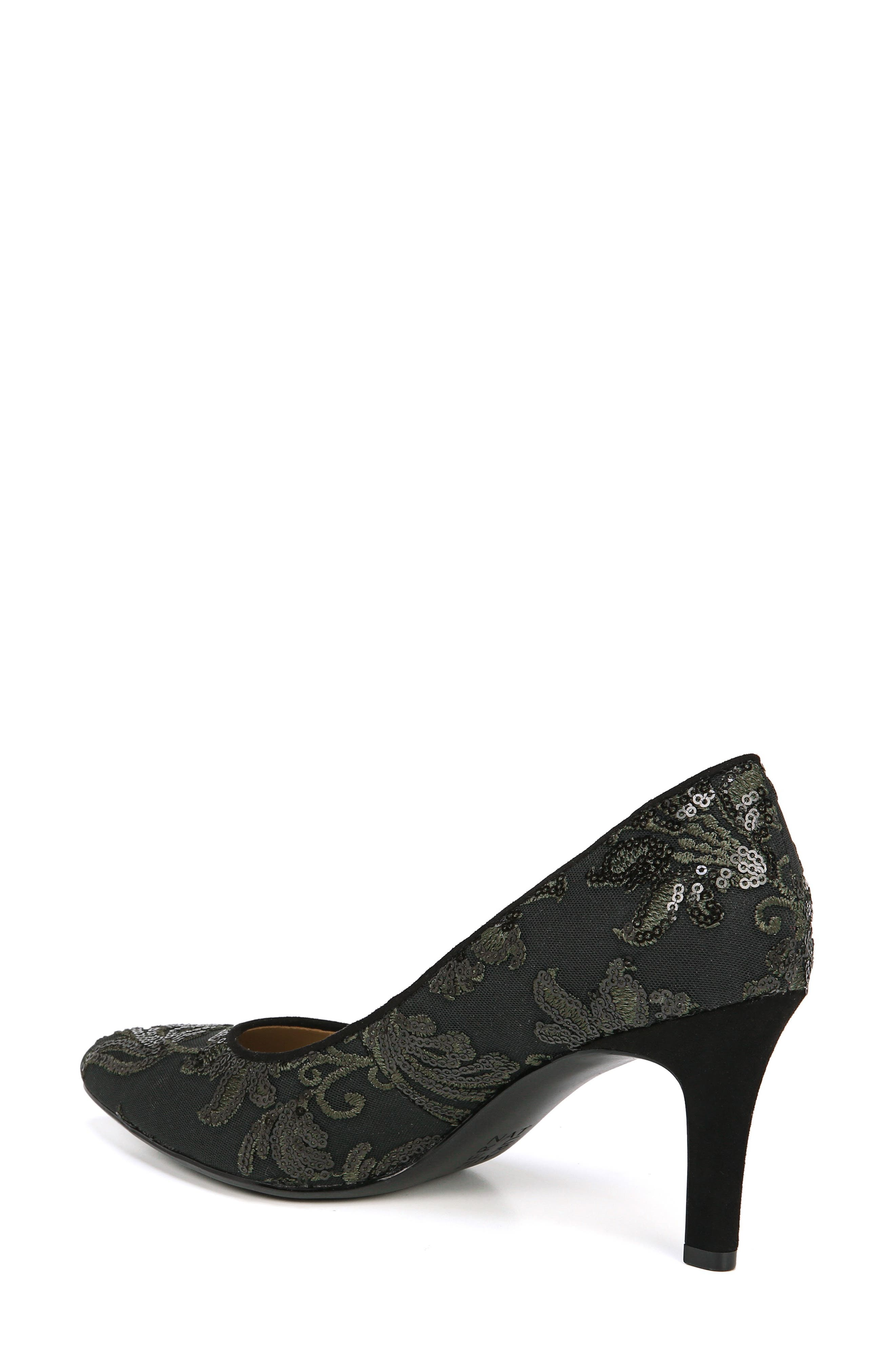 NATURALIZER, Natalie Pointy Toe Pump, Alternate thumbnail 2, color, FERN GREEN EMBROIDERED