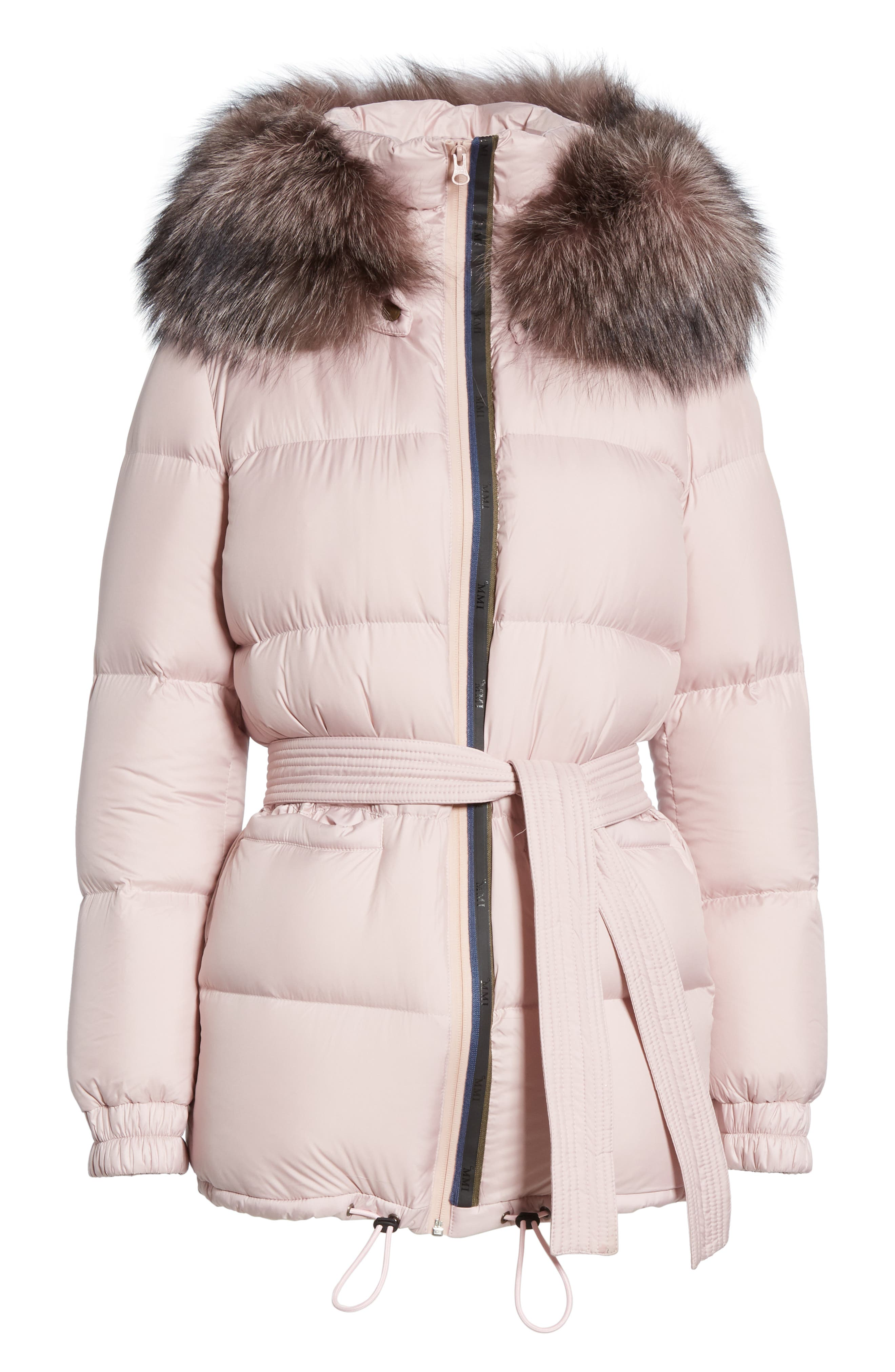 MR & MRS ITALY, Genuine Fox Fur Trim Quilted Down Puffer Coat, Alternate thumbnail 6, color, PINK