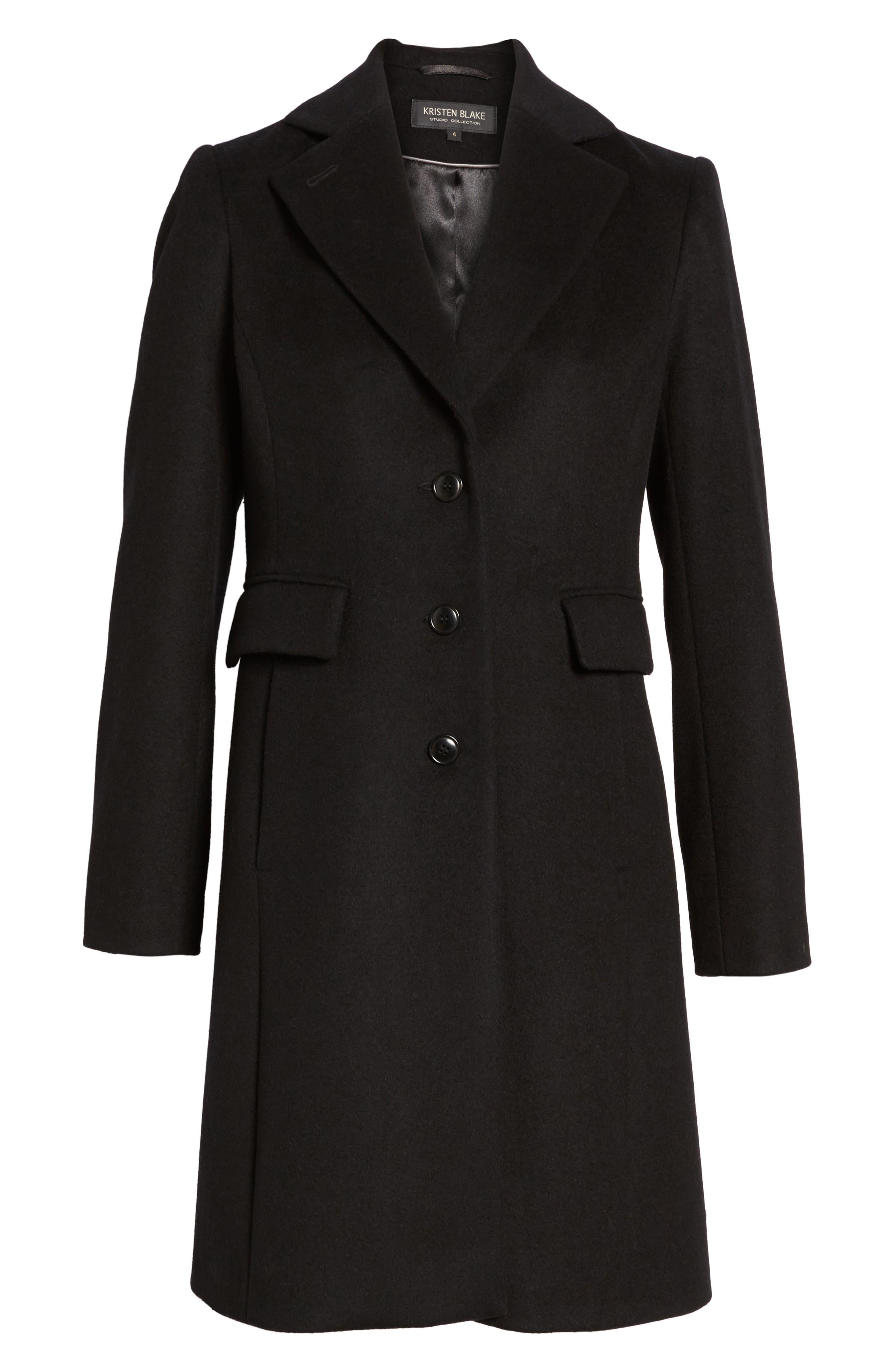 KRISTEN BLAKE, Walking Coat, Alternate thumbnail 6, color, BLACK