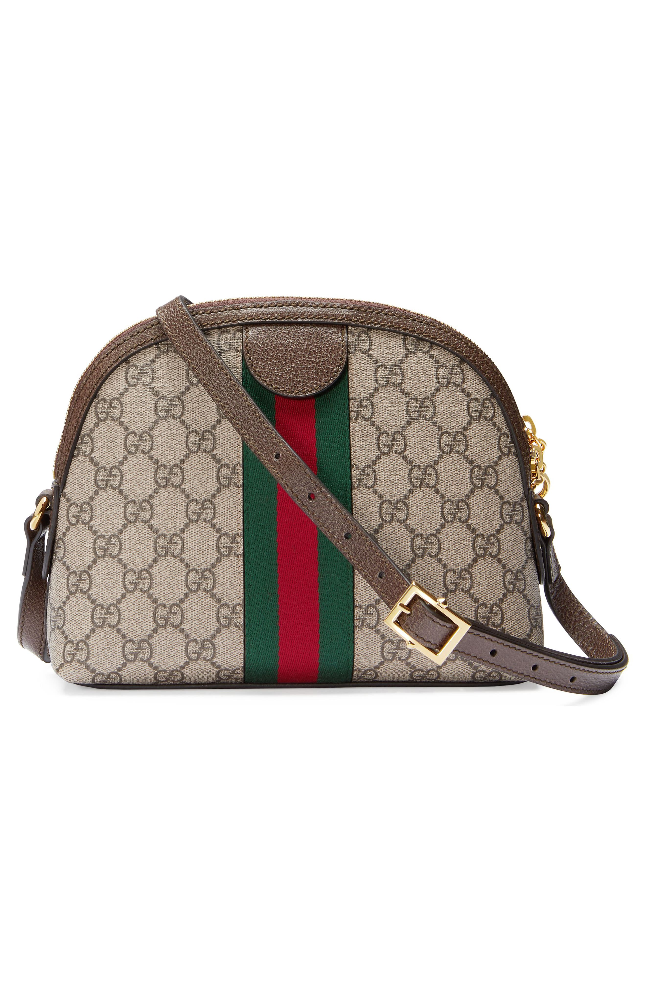 GUCCI, GG Supreme Canvas Shoulder Bag, Alternate thumbnail 3, color, BEIGE EBONY/ NERO/ RED