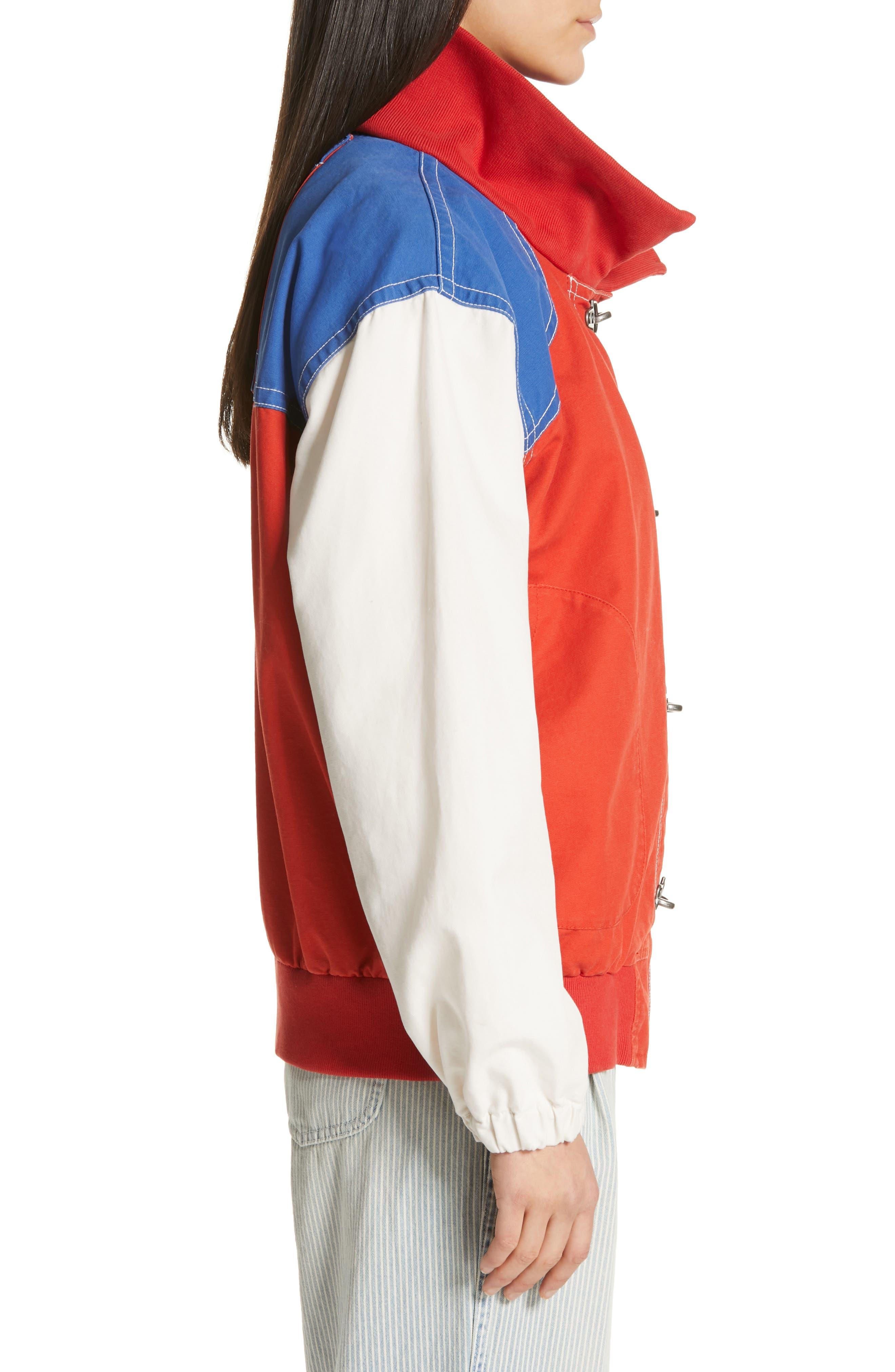 POLO RALPH LAUREN, Colorblock Utility Jacket, Alternate thumbnail 4, color, ORANGE/CREAM/ SAPPHIRE