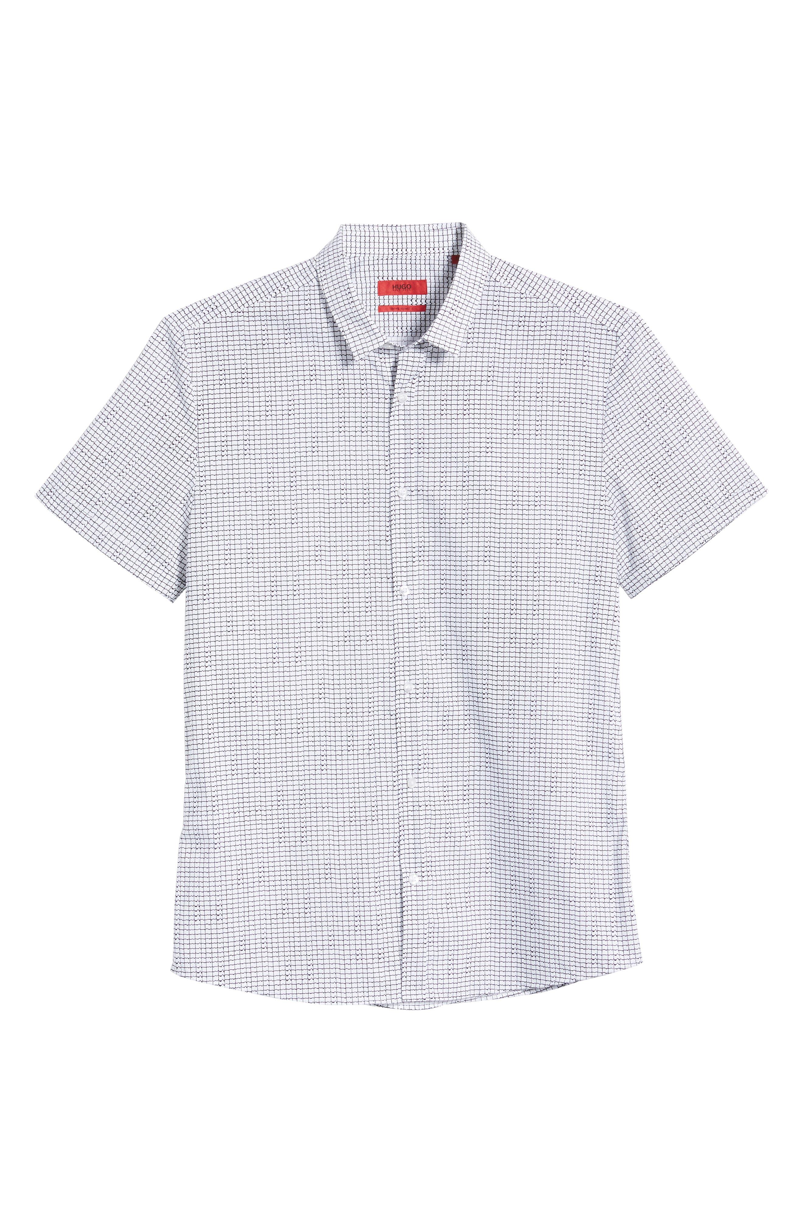 HUGO, Empson Slim Fit Print Sport Shirt, Alternate thumbnail 5, color, WHITE