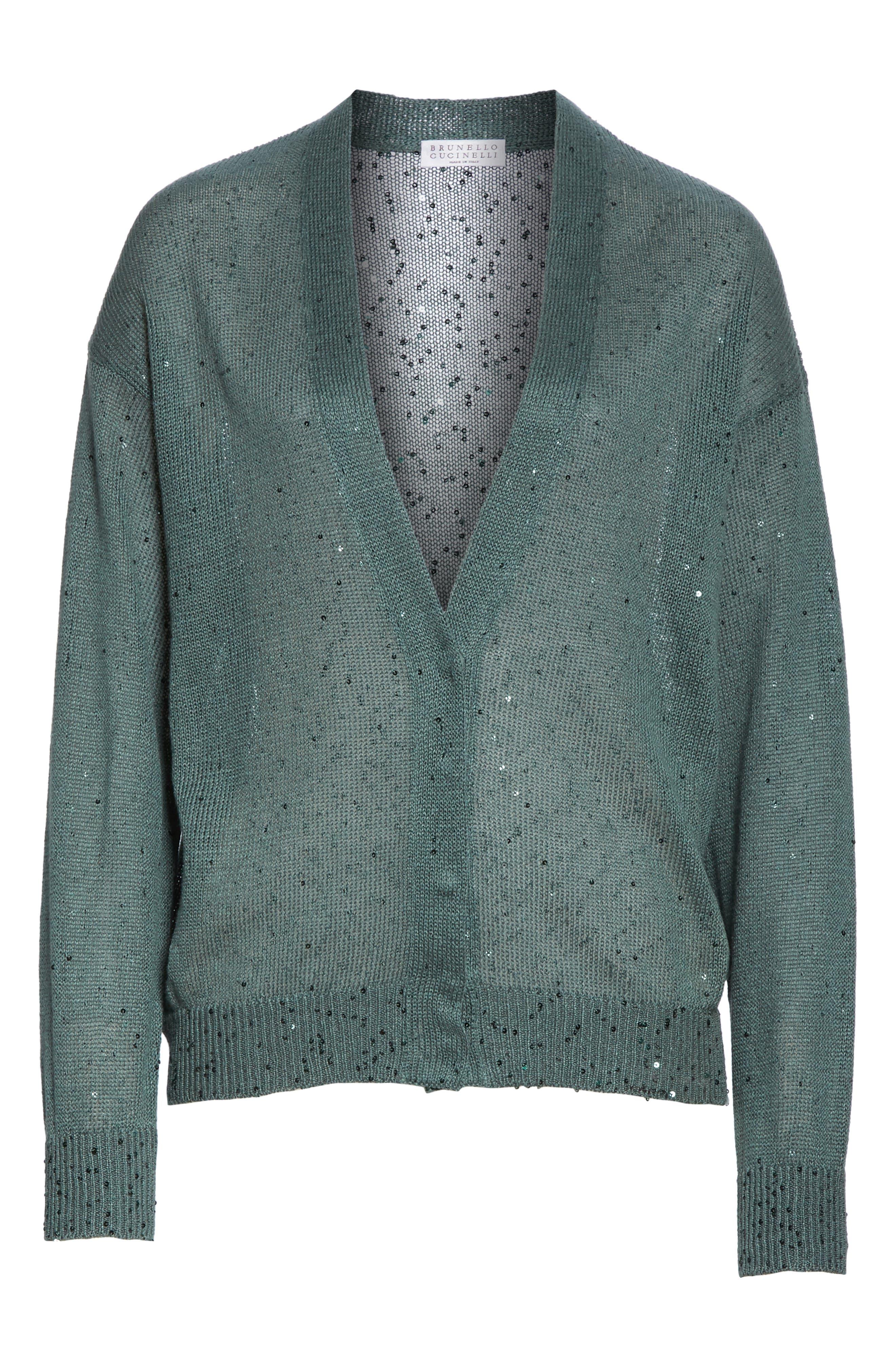 BRUNELLO CUCINELLI, Sequin Linen & Silk Cardigan, Alternate thumbnail 6, color, SAGE