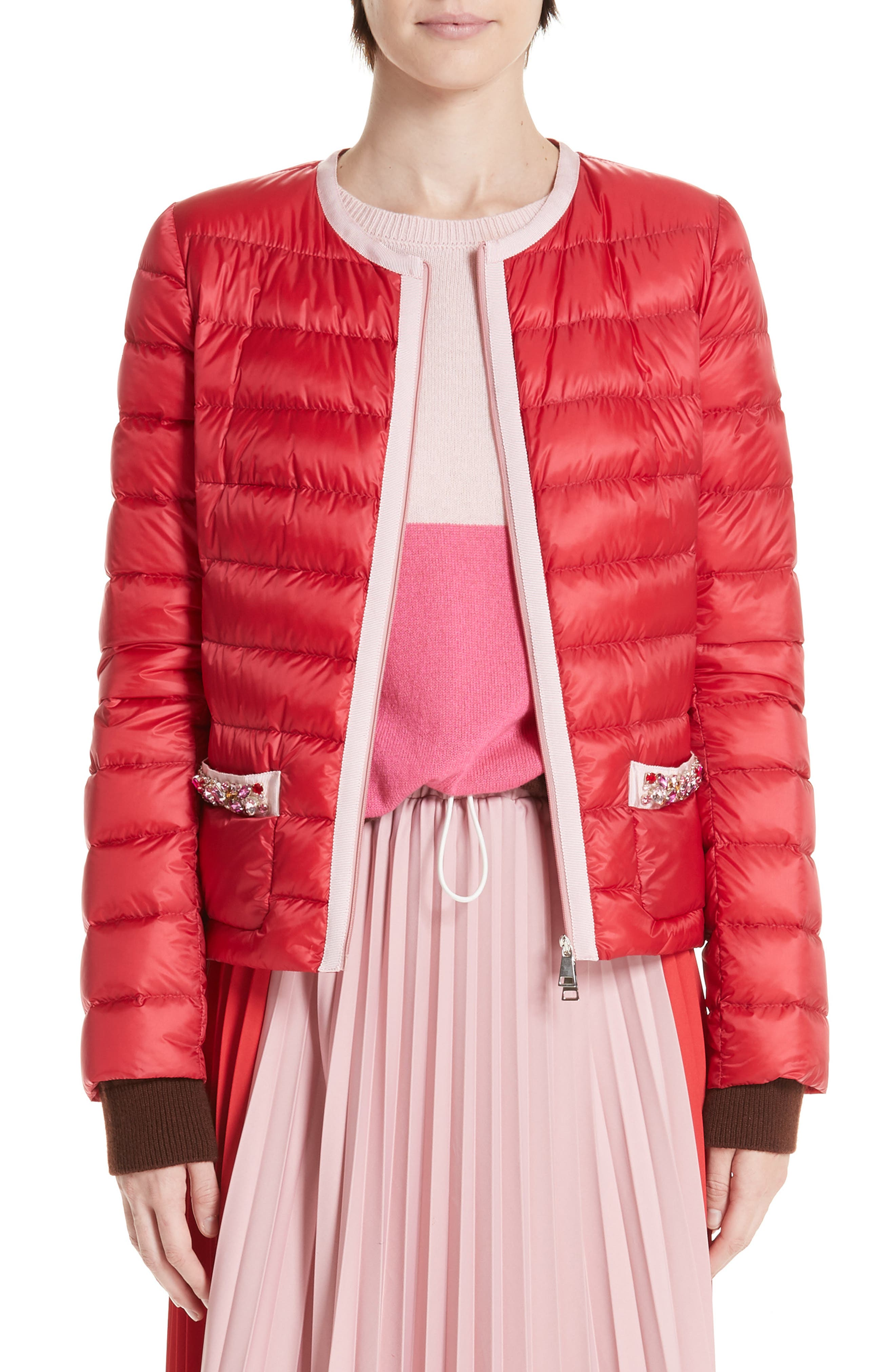 MONCLER, Cristalline Jacket, Main thumbnail 1, color, RED