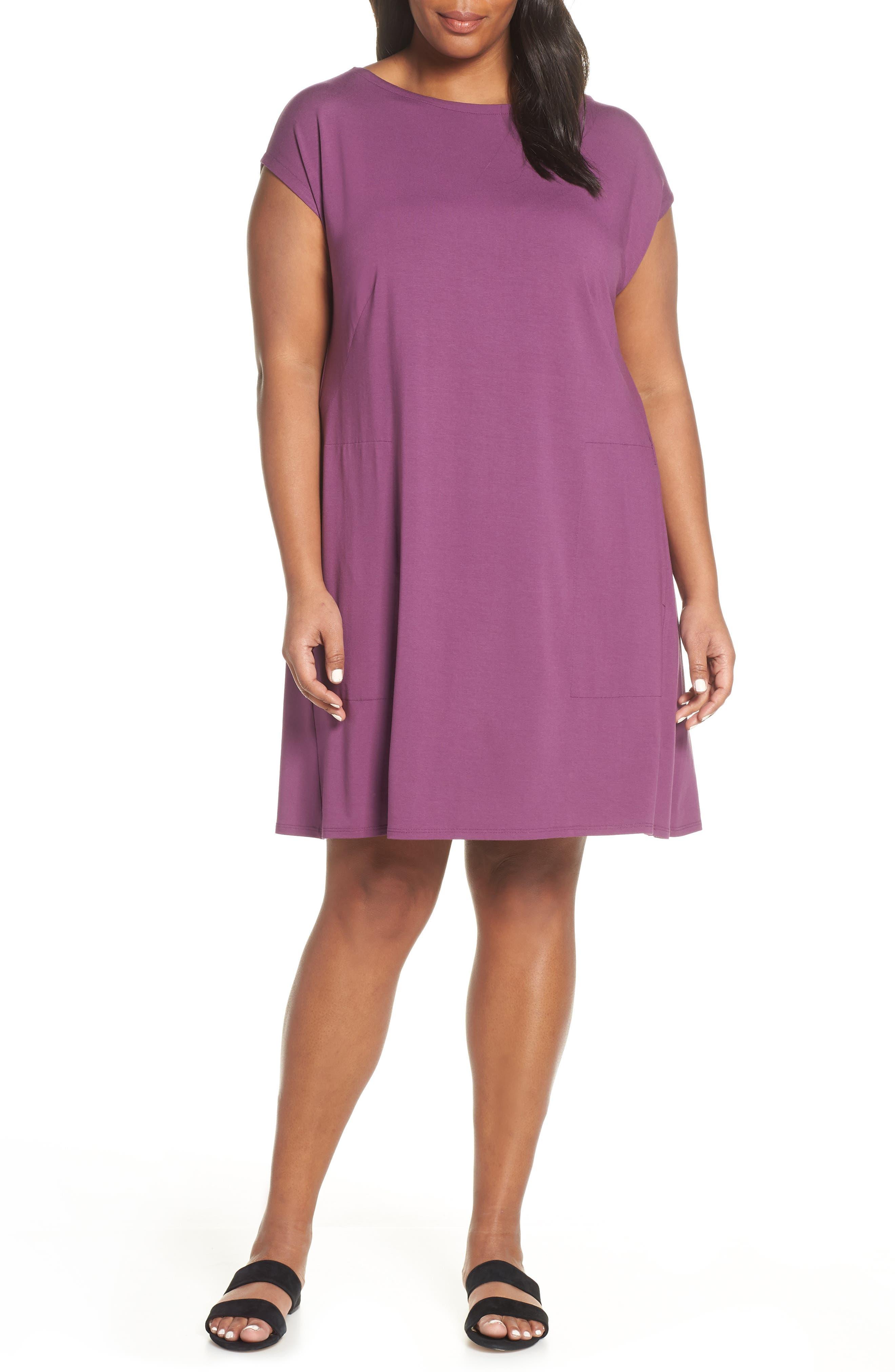 Plus Size Eileen Fisher Twist Back Jersey Shift Dress, Purple